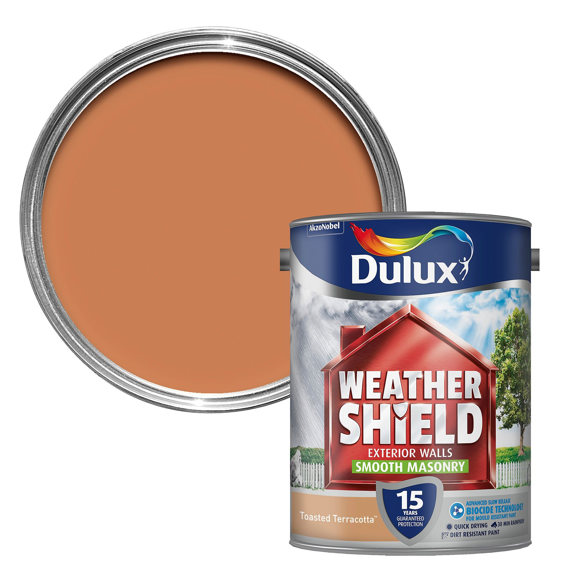 Dulux Weathershield Toasted Terracotta Smooth Masonry Paint 5l Departments Diy At B Q