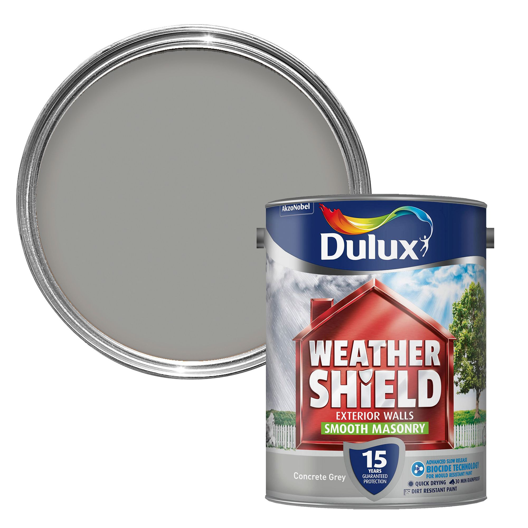 Dulux Weathershield Concrete Grey Smooth Masonry Paint 5l Departments Diy At B Q