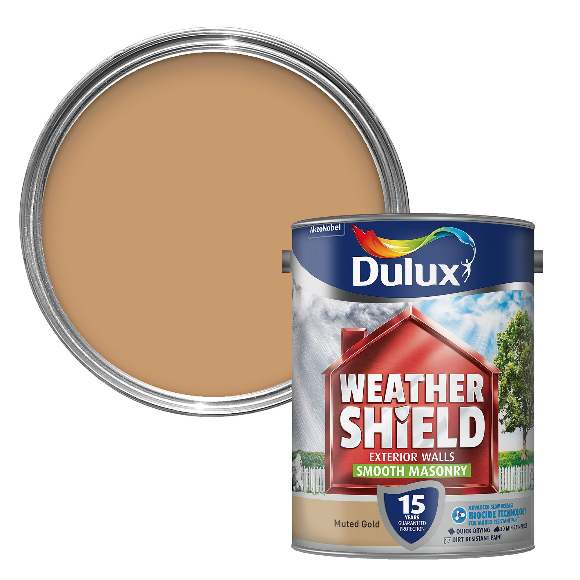 Dulux weathershield muted gold smooth masonry paint 5l - Weathershield exterior paint system ...