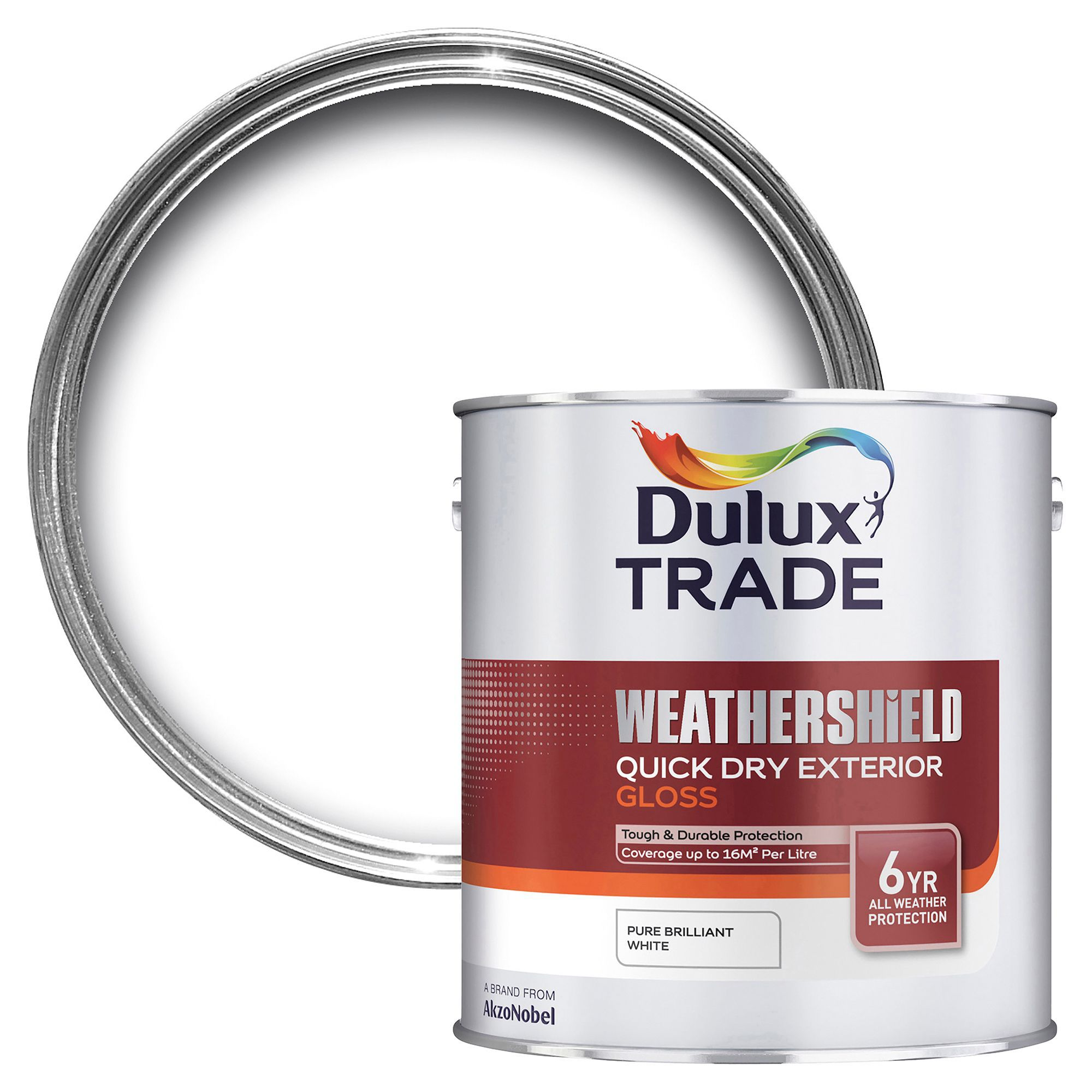 Dulux Trade Exterior Pure Brilliant White Gloss Wood & Metal Paint 2.5l Tin