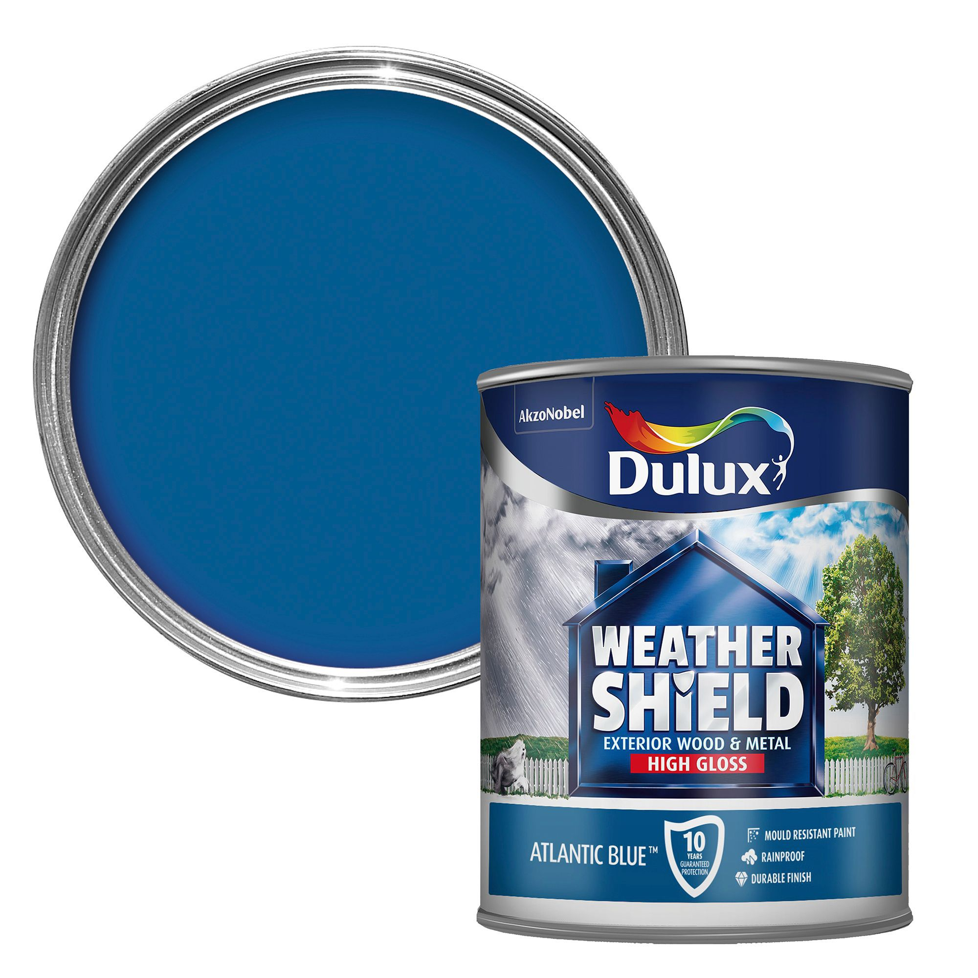 Dulux Weathershield Exterior Atlantic Blue Gloss Wood Metal Paint 750ml Departments Diy At B Q