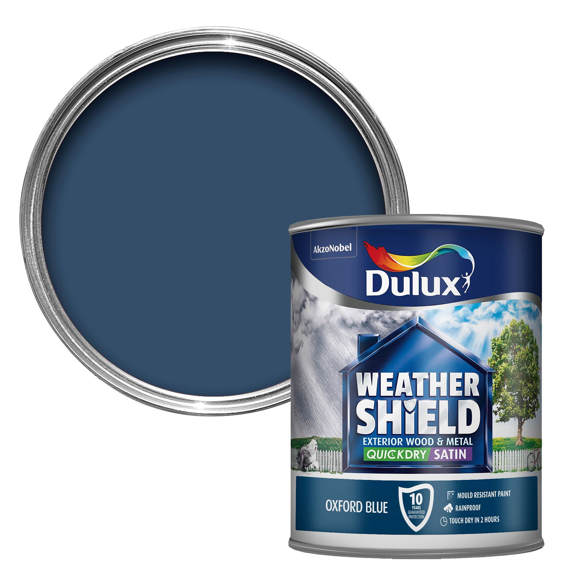 Dulux Weathershield Exterior Oxford Blue Satin Wood & Metal Paint 750ml