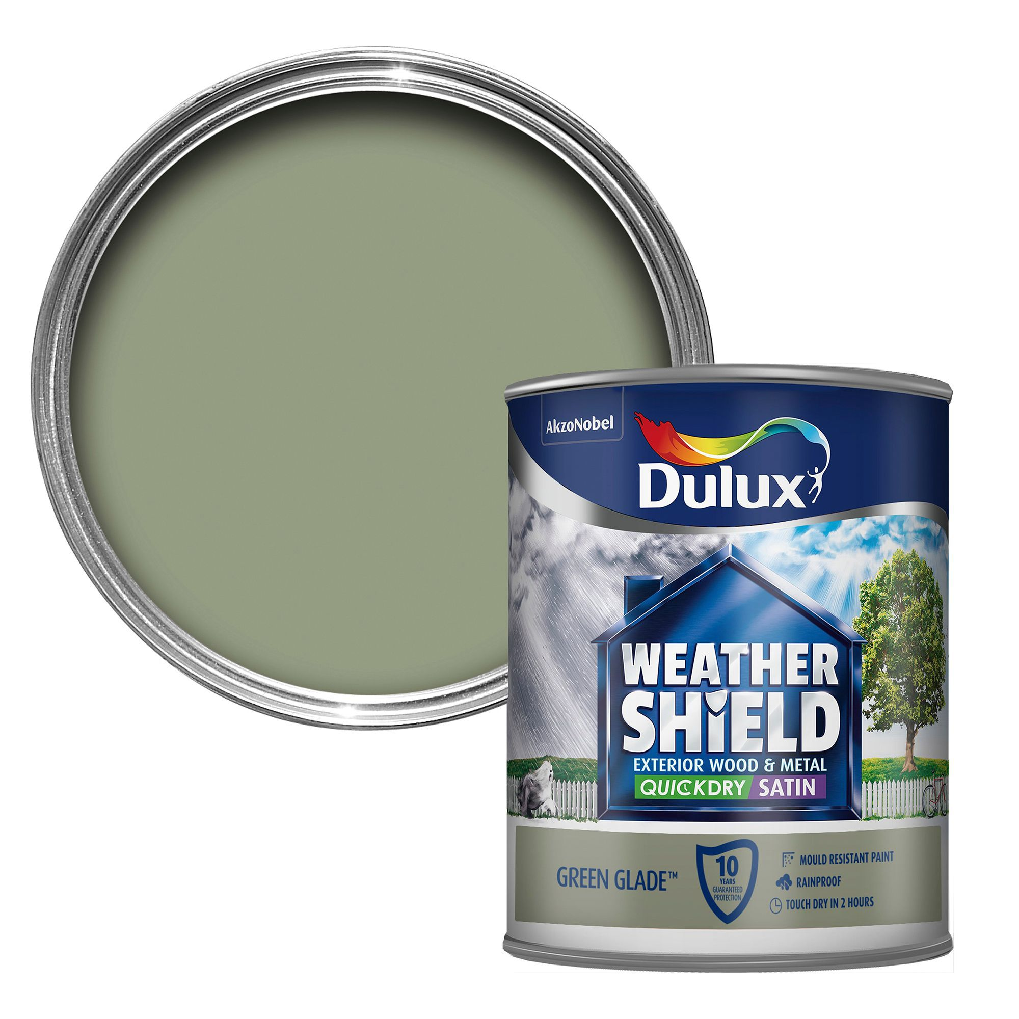 Dulux weathershield exterior glade green satin wood metal paint 750ml departments diy at b q - Dulux exterior gloss paint style ...