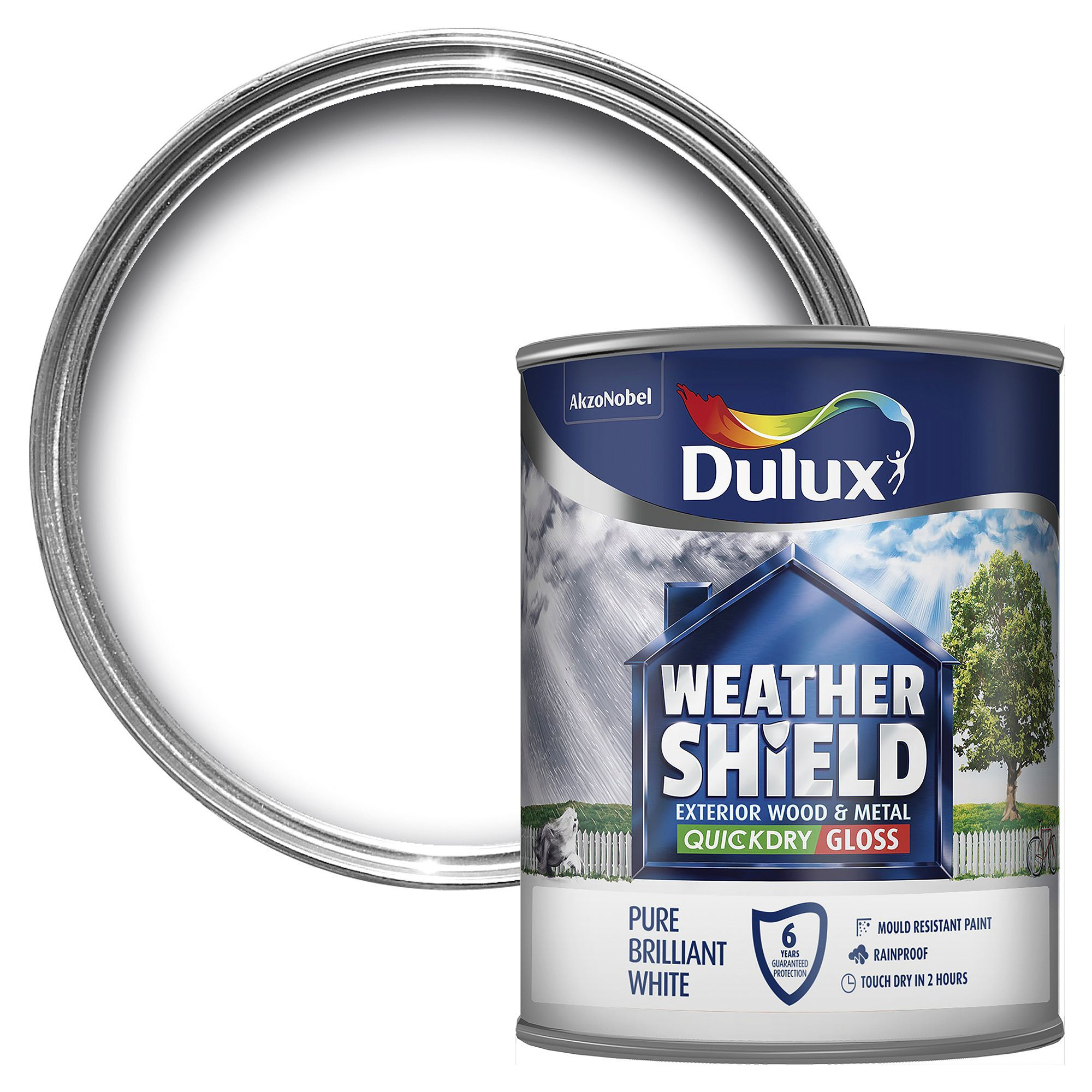 Dulux Weathershield Exterior Pure Brilliant White Gloss Wood & Metal Paint 750ml