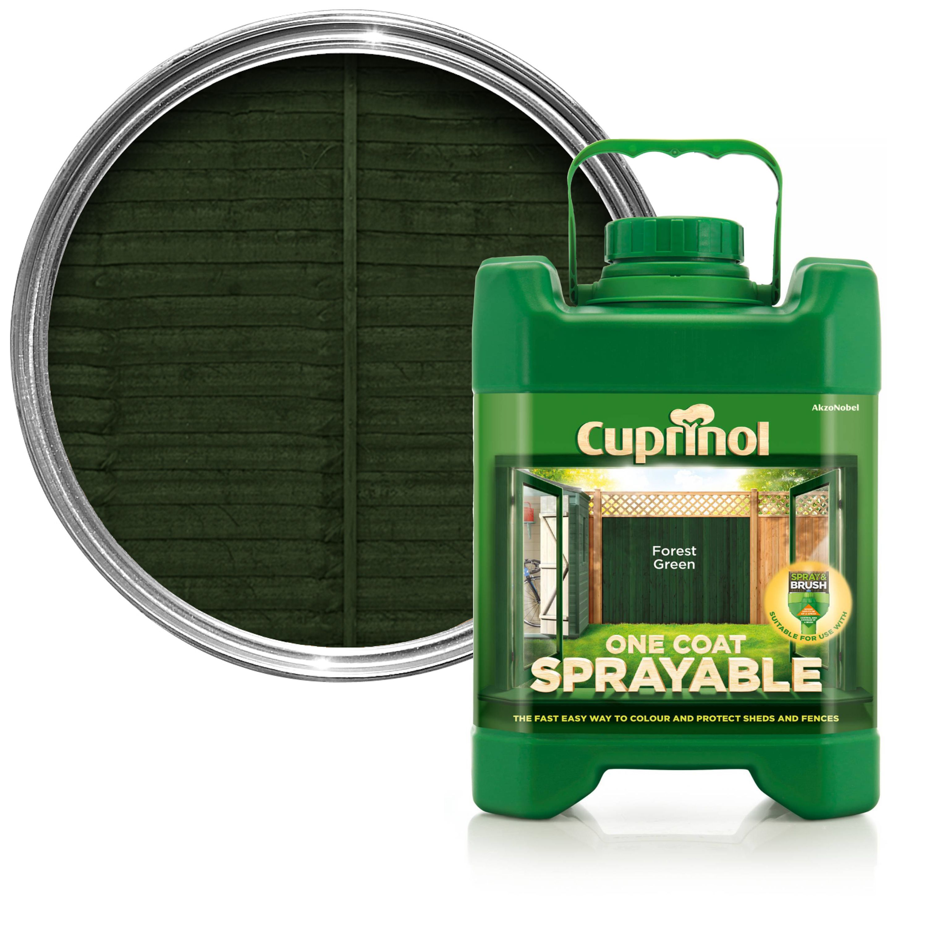 Cuprinol One Coat Sprayable Forest Green Shed & Fence Treatment 5l