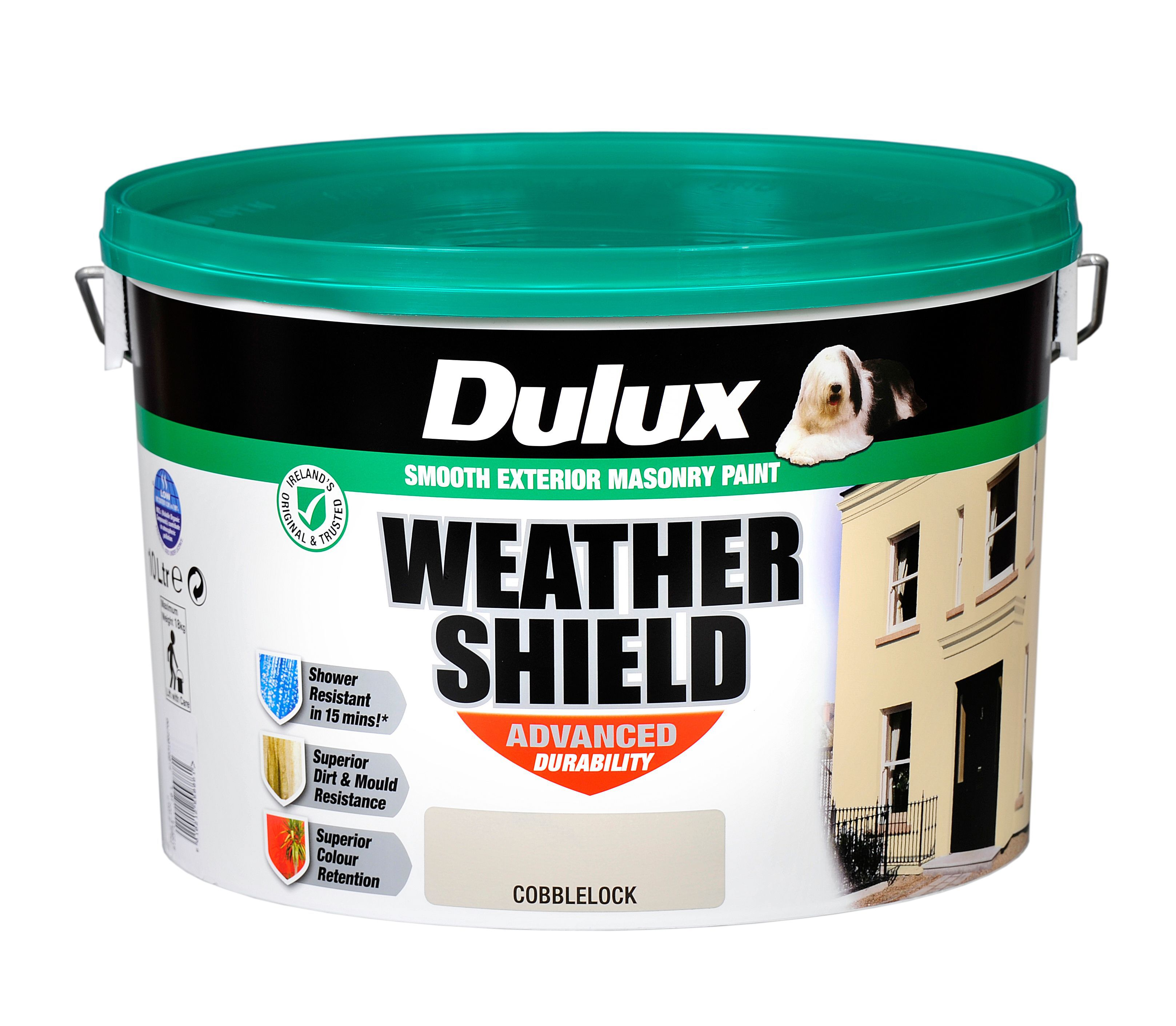 Dulux Weathershield Cobblelock Matt Masonry Paint 10l Plastic Container Departments Diy At B Q