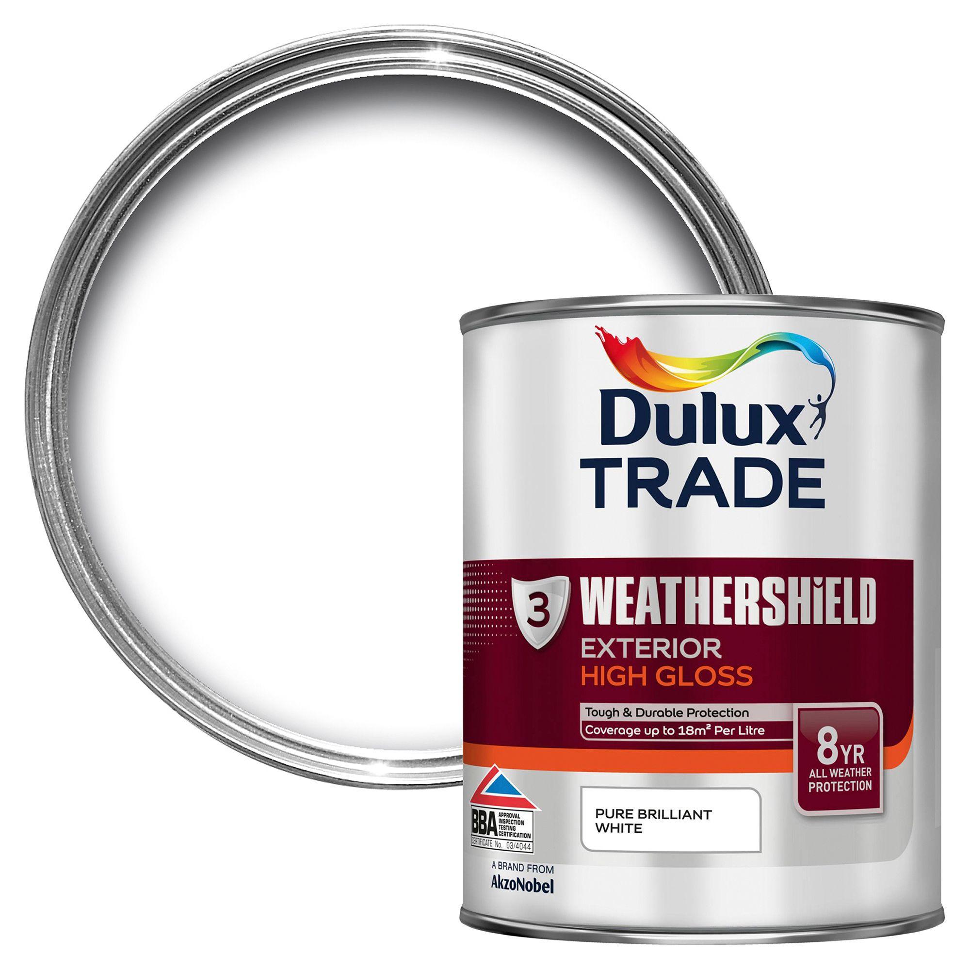 Dulux Trade Exterior Pure Brilliant White Gloss Multipurpose Paint 1L
