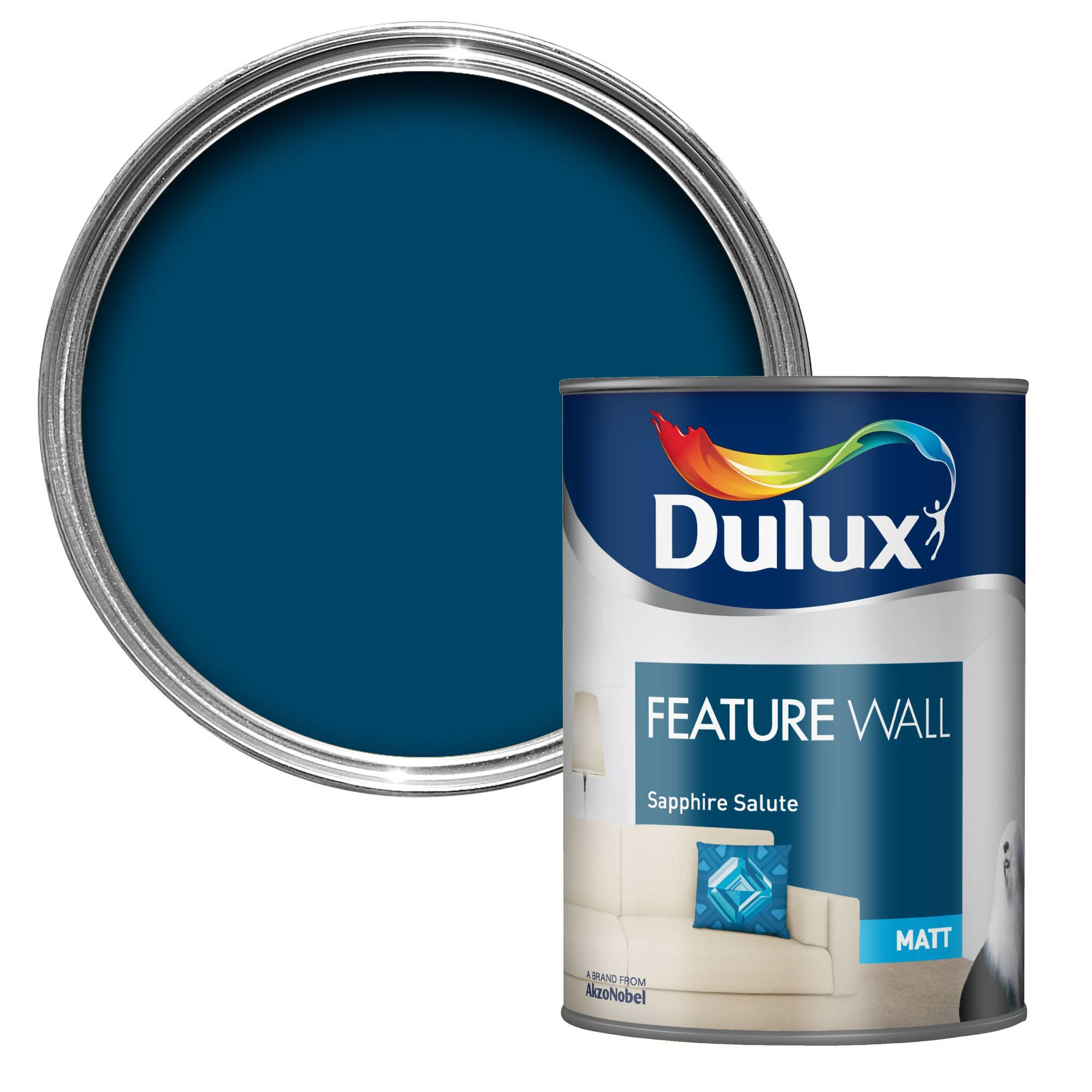 dulux feature wall sapphire salute matt emulsion paint 1. Black Bedroom Furniture Sets. Home Design Ideas