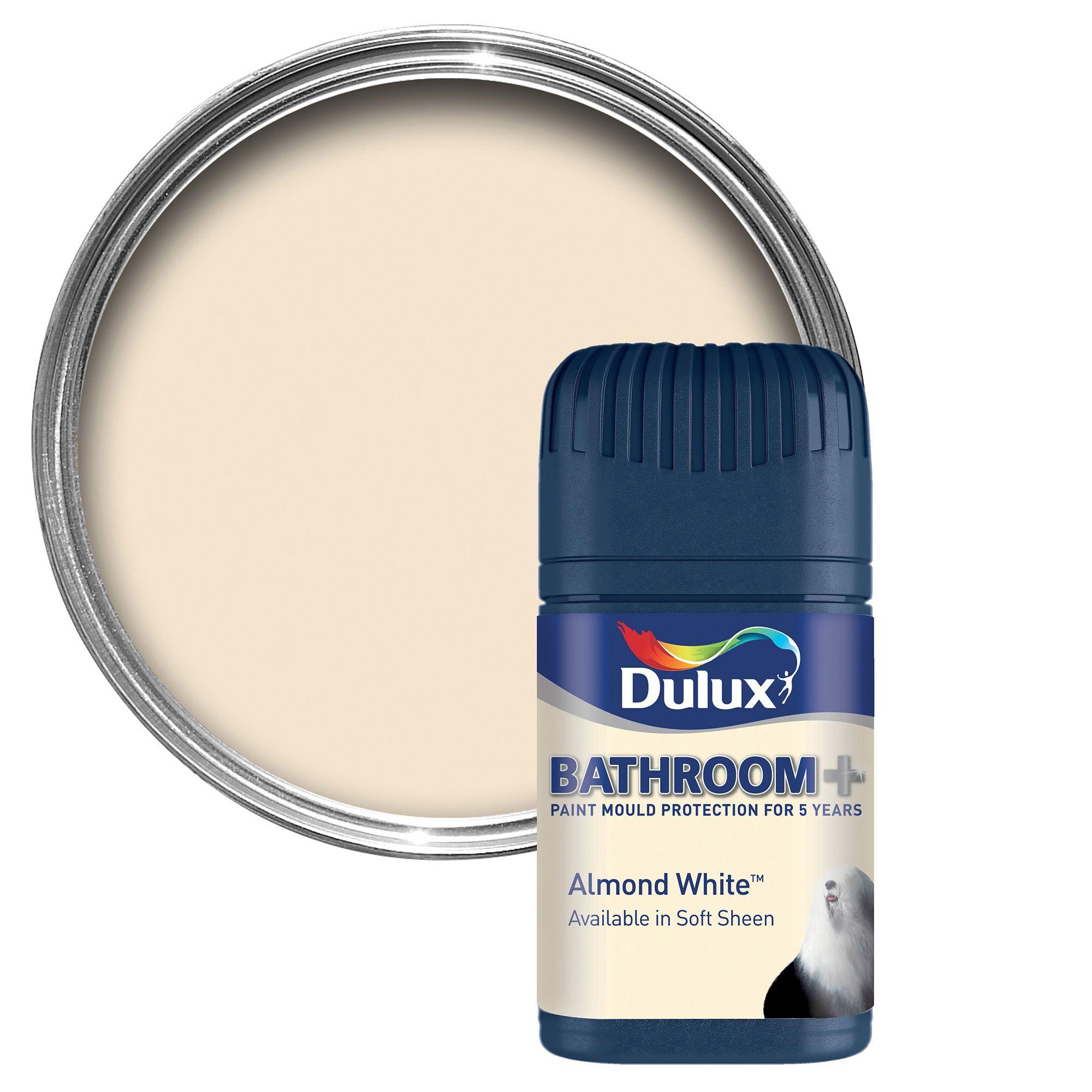 Paint Tester dulux bathroom+ almond white soft sheen emulsion paint 50ml tester