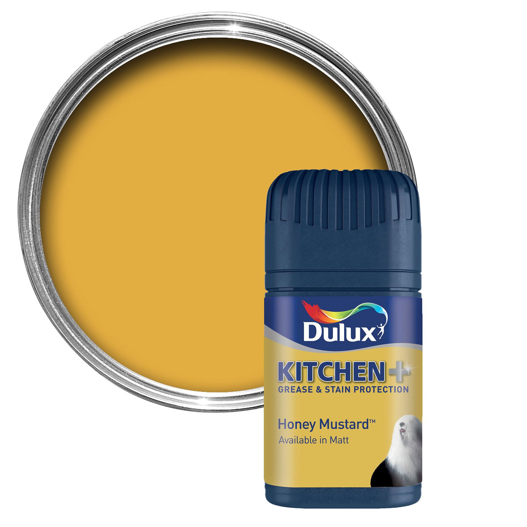 Paint Tester dulux kitchen honey mustard matt emulsion paint 50ml tester pot