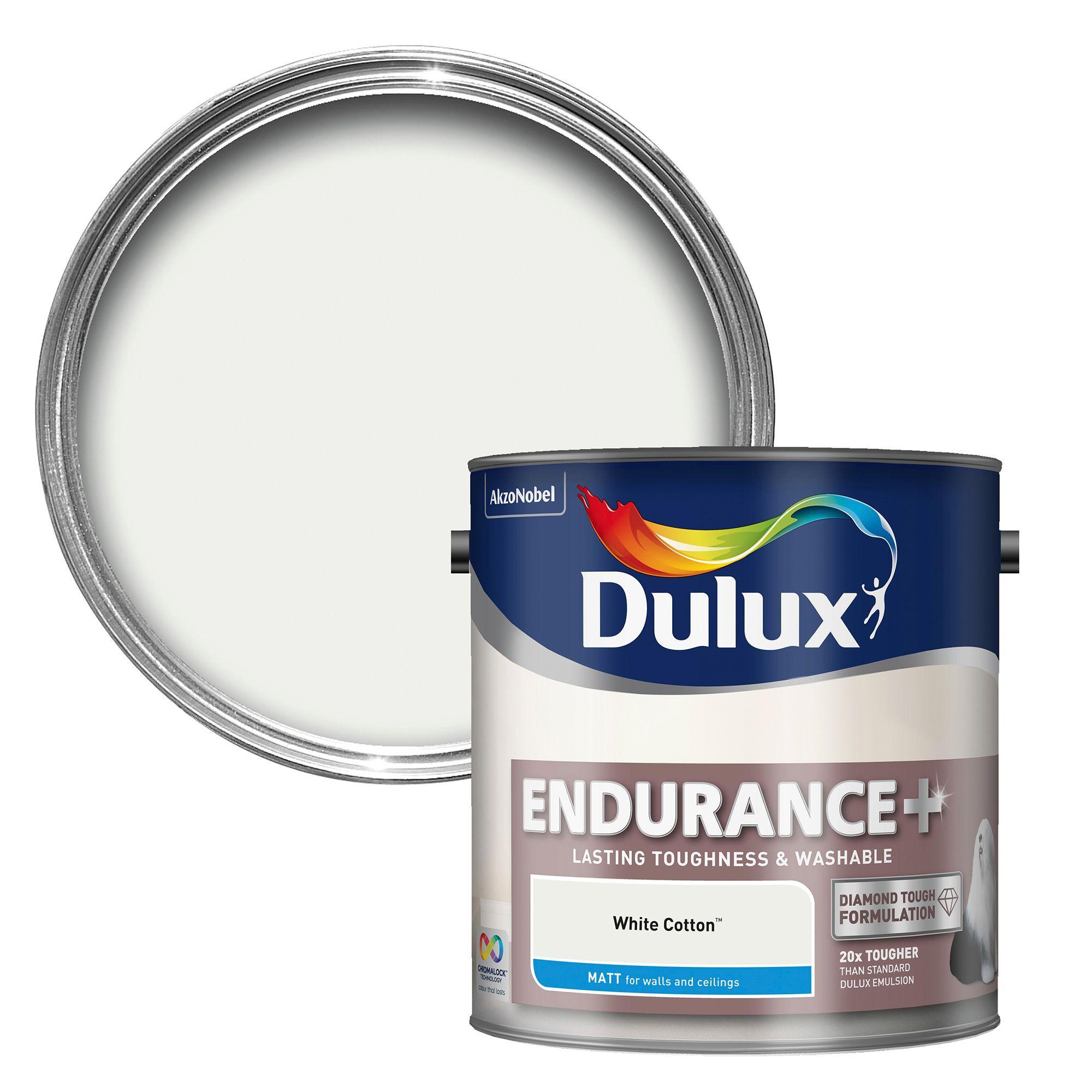 Dulux Endurance White Cotton Matt Emulsion Paint 2 5l Departments Diy At B Q