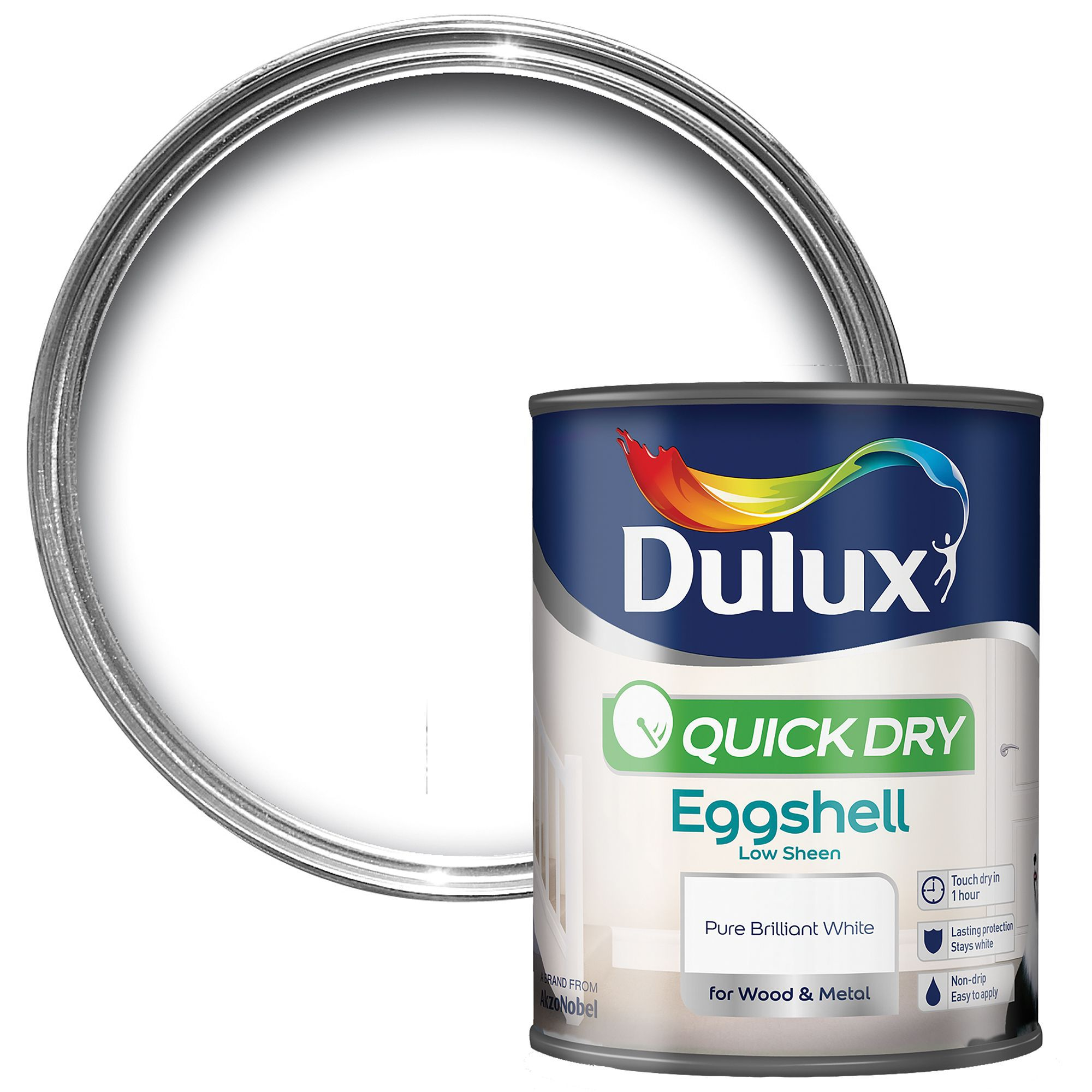 Dulux Interior Pure Brilliant White Eggshell Wood & Metal Paint 750ml