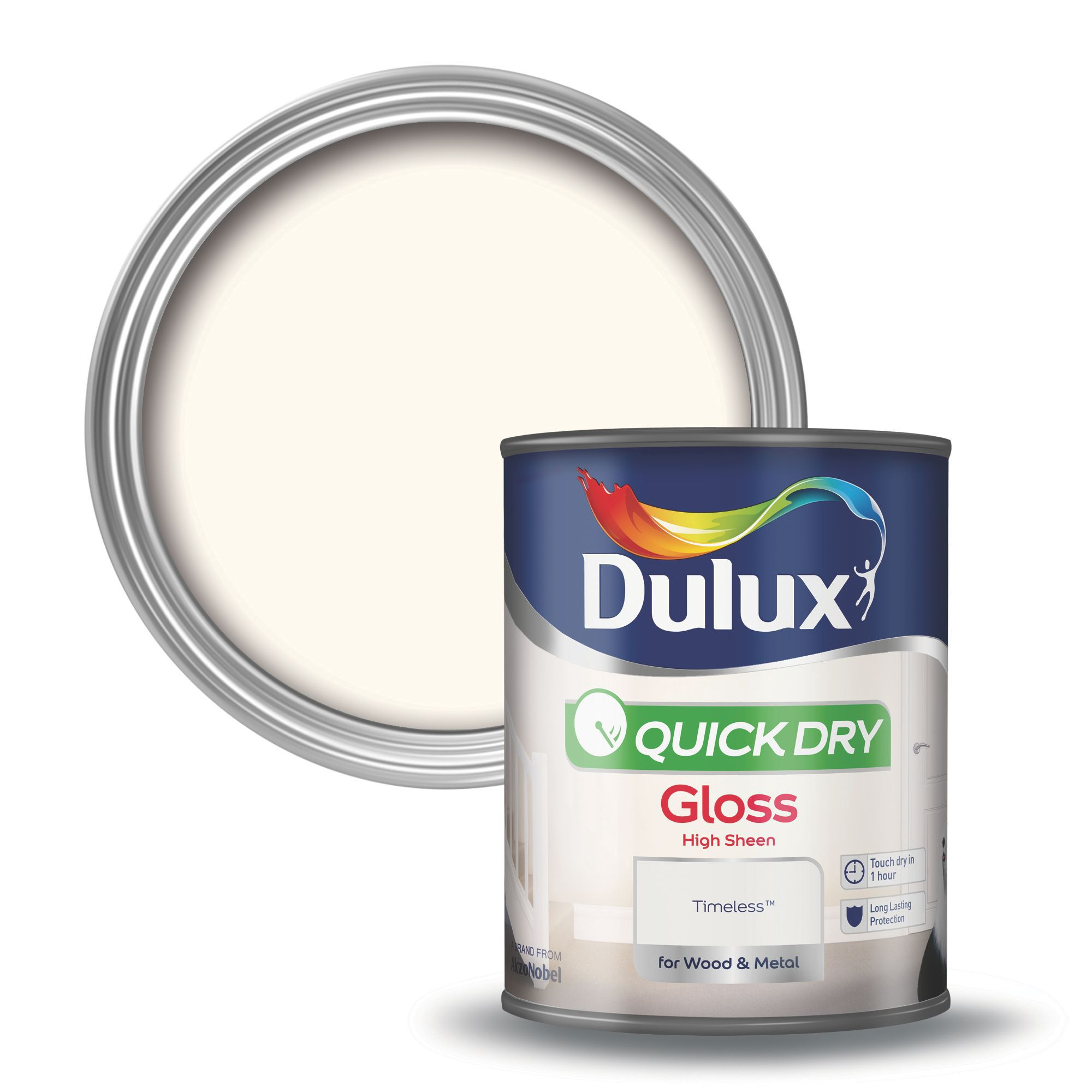 Room Dulux Quick Dry Gloss Paint  Ml Buttermilk