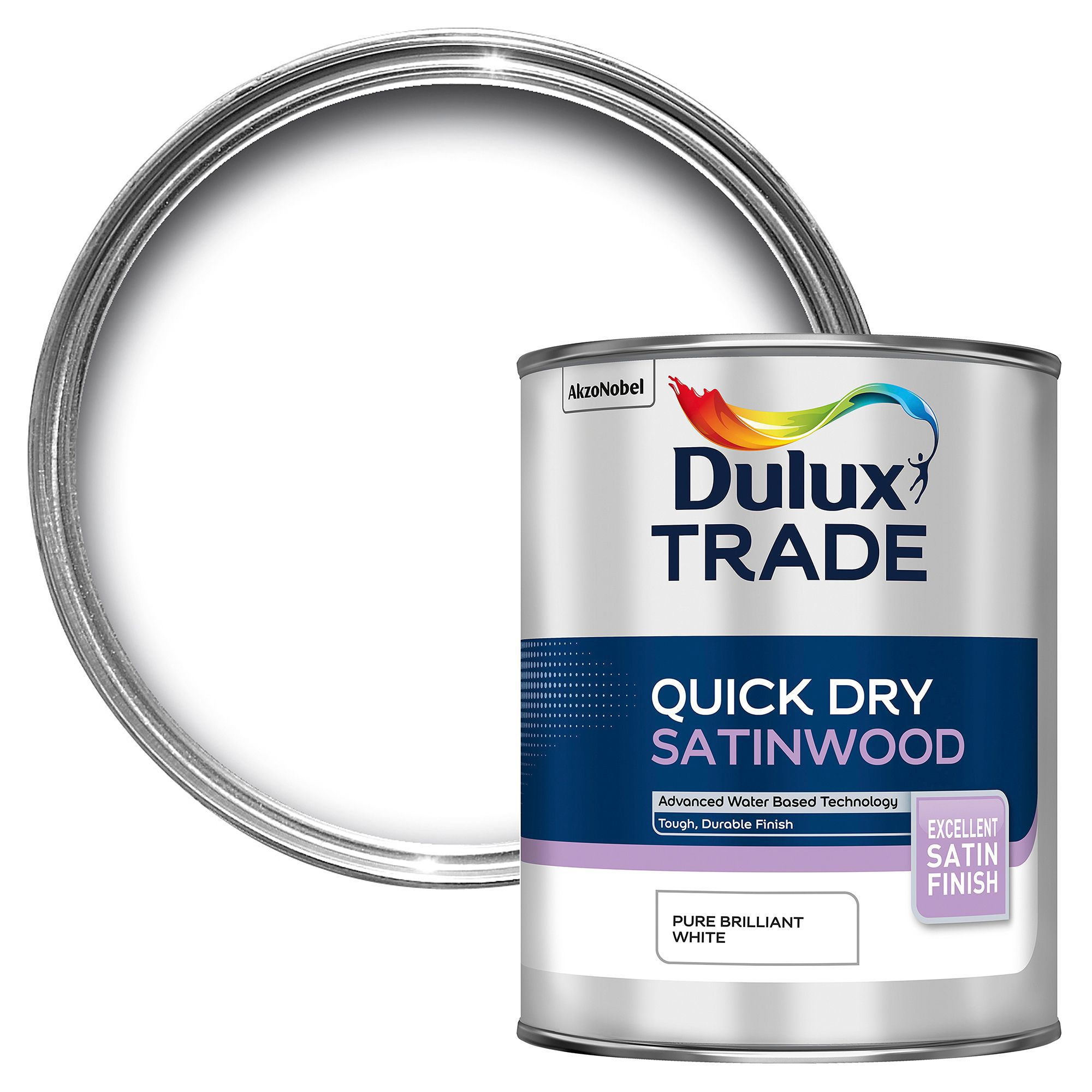 Dulux Trade Interior Pure Brilliant White Satinwood Wood Metal Paint 1000ml Departments