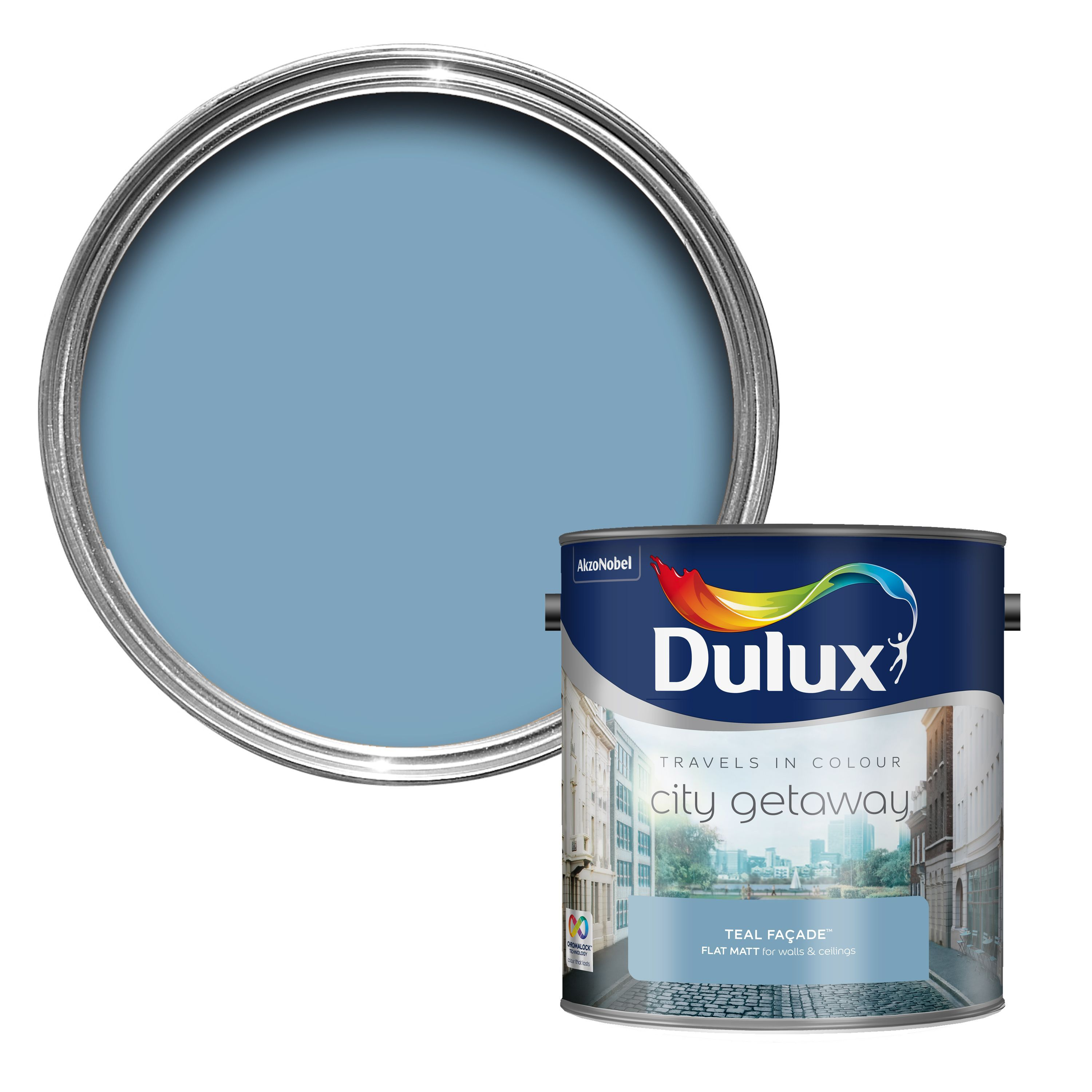 Dulux Travels In Colour Teal Fa Ade Blue Matt Emulsion