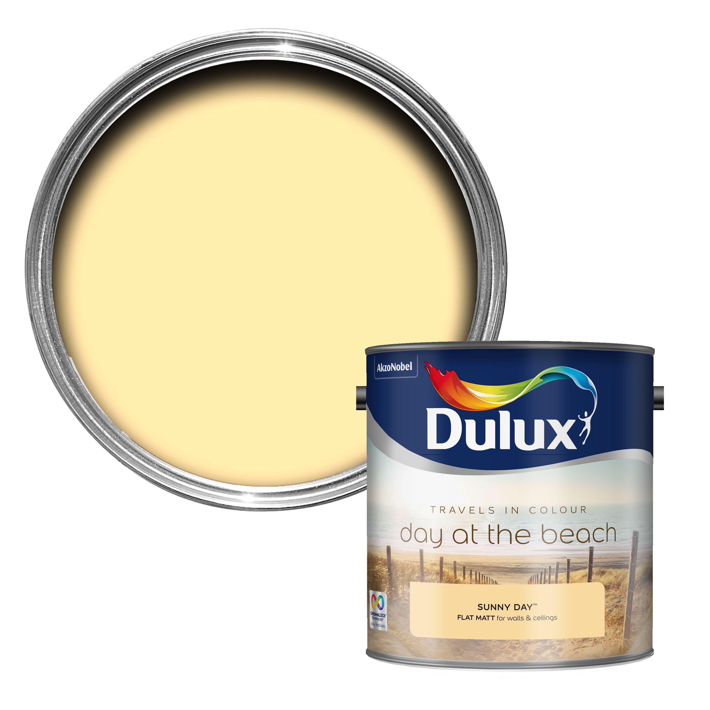 Dulux Travels In Colour Sunny Day Yellow Flat Matt Emulsion Paint 2.5l