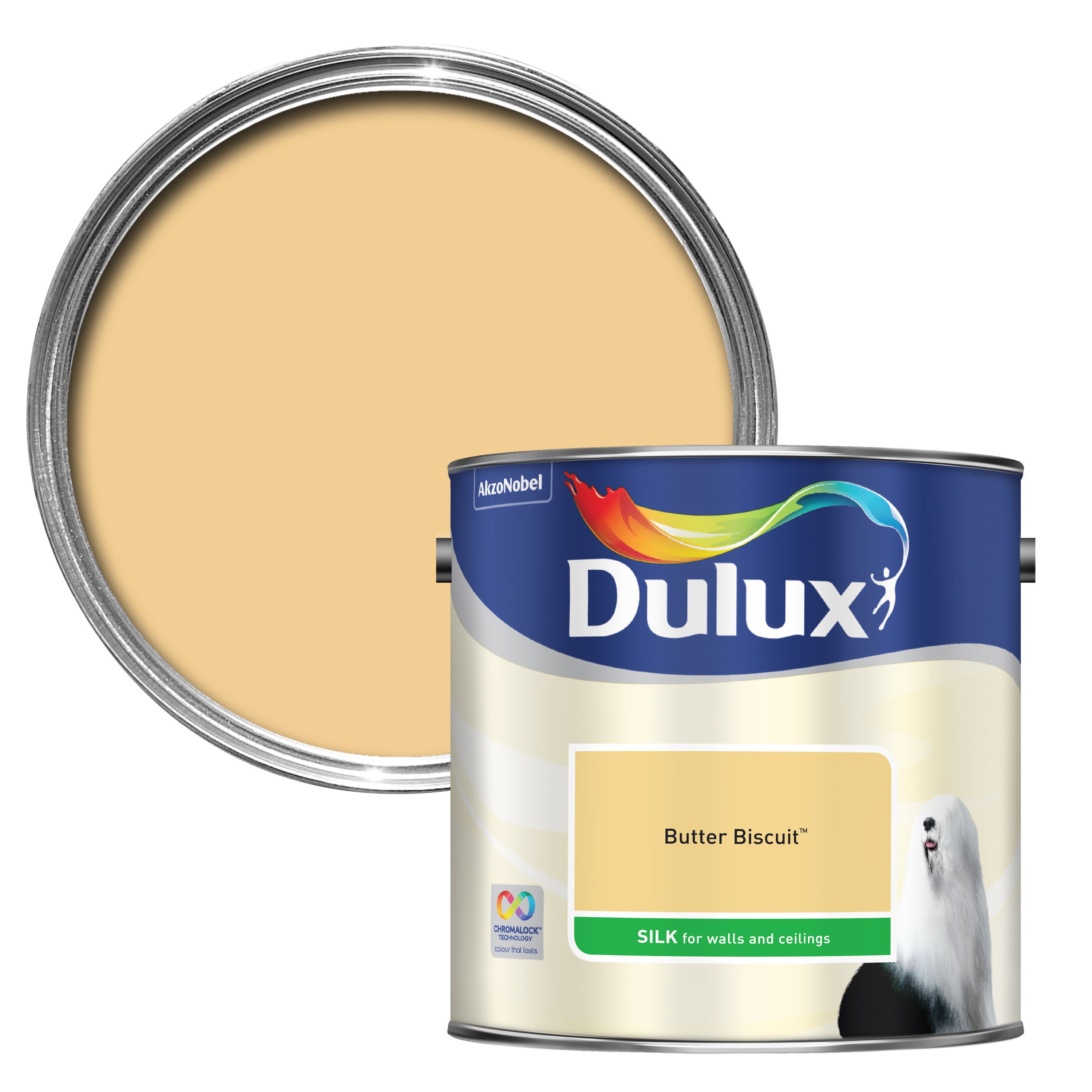 Dulux Standard Butter Biscuit Silk Wall & Ceiling Paint 2.5l