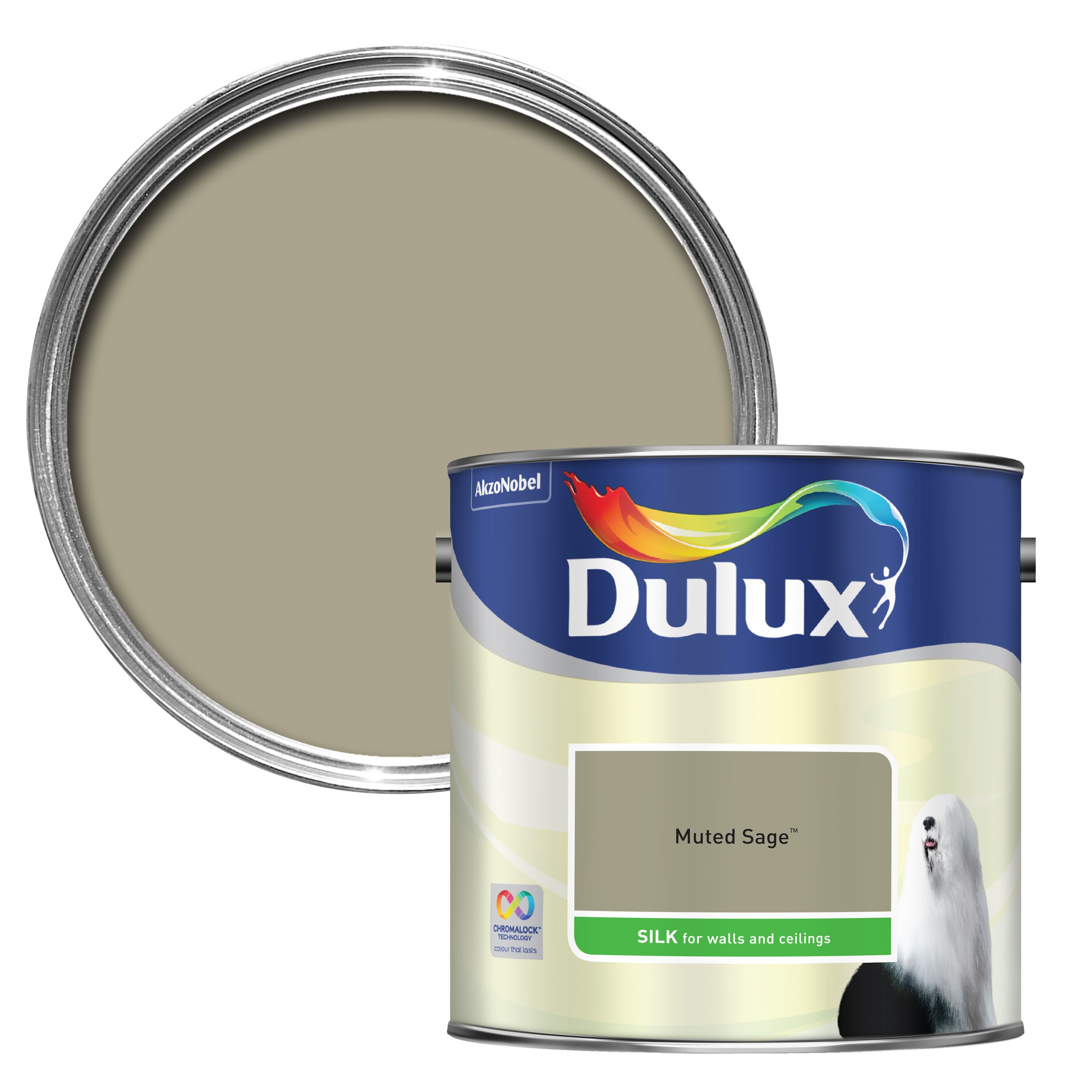 Dulux Muted Sage Silk Emulsion Paint 2 5l Departments Diy At B Q