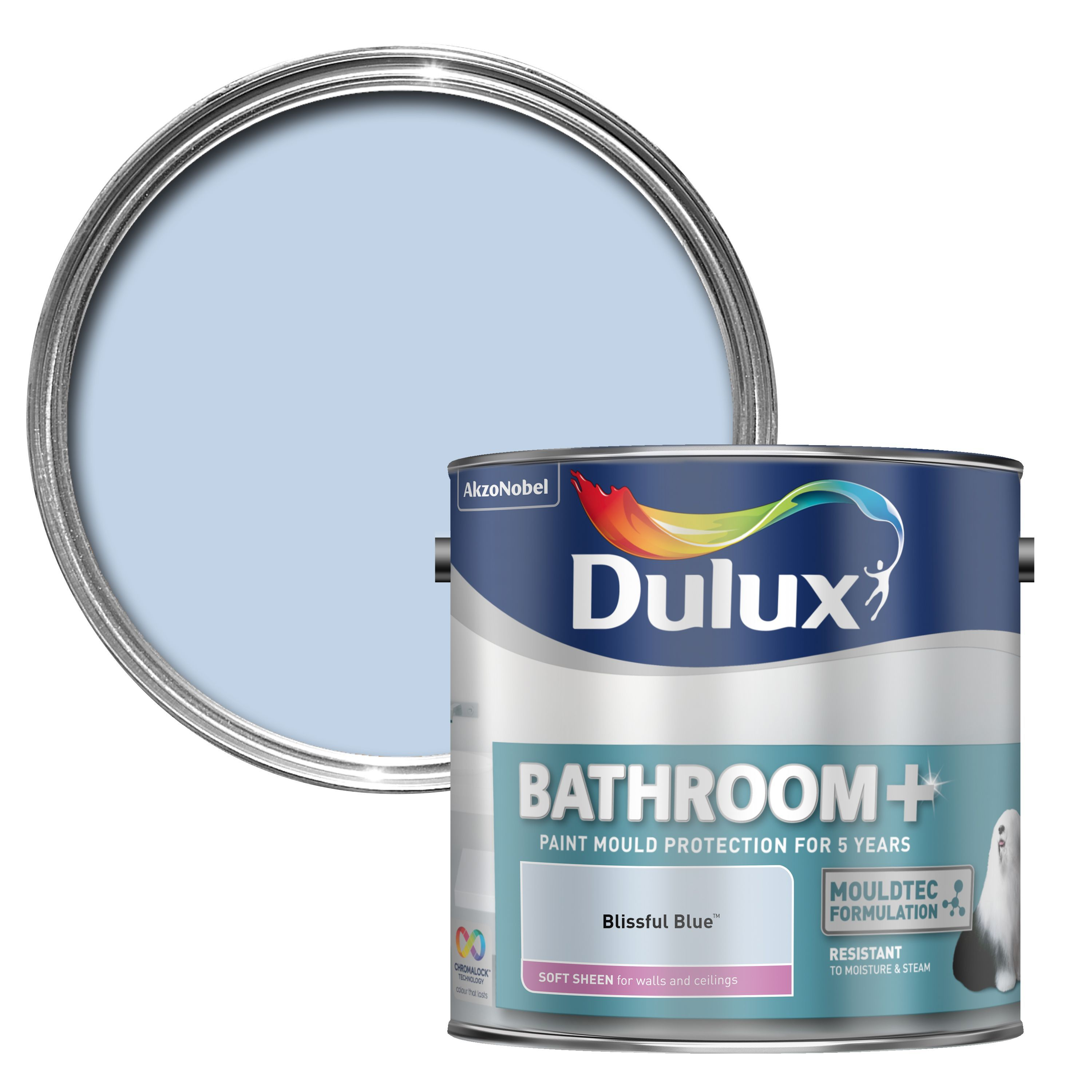 Dulux bathroom blissful blue soft sheen emulsion paint 2 5l departments diy at b q for What paint sheen for bathroom