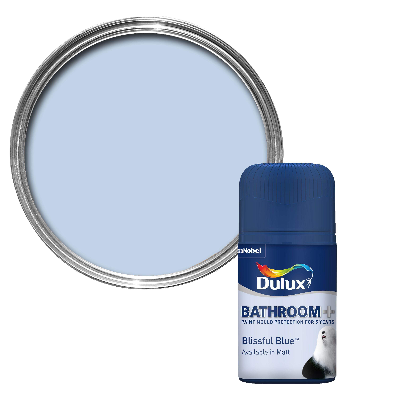 Dulux bathroom blissful blue soft sheen paint tester pot for Light sky blue paint