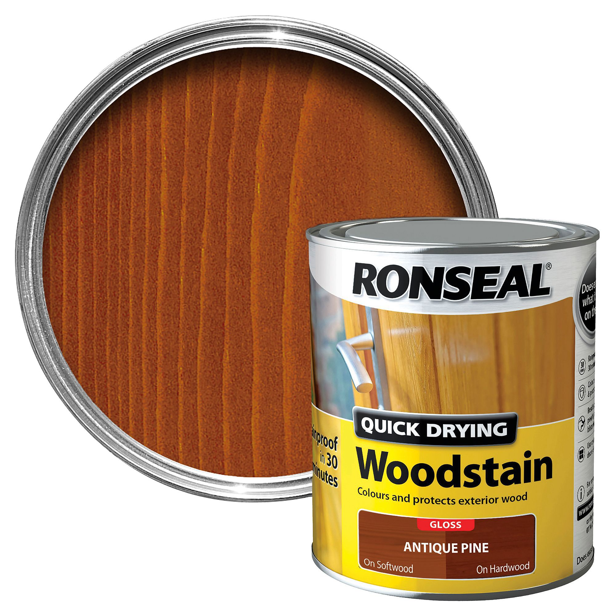 Ronseal antique pine gloss woodstain 0 75l departments diy at bq