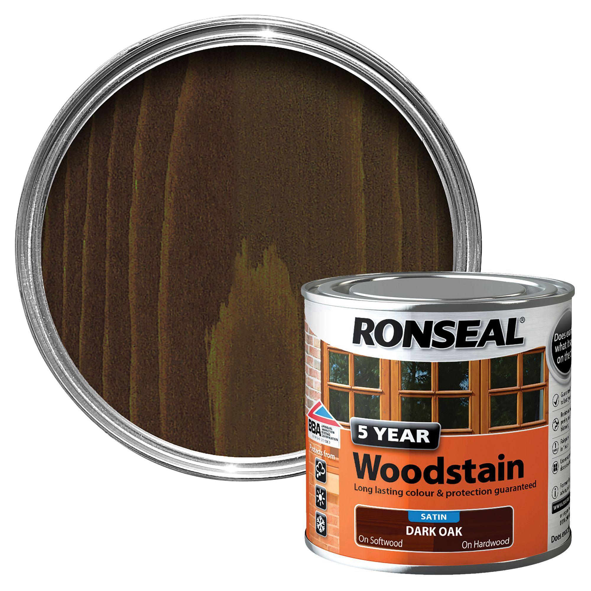 ronseal dark oak high satin sheen wood stain 250ml