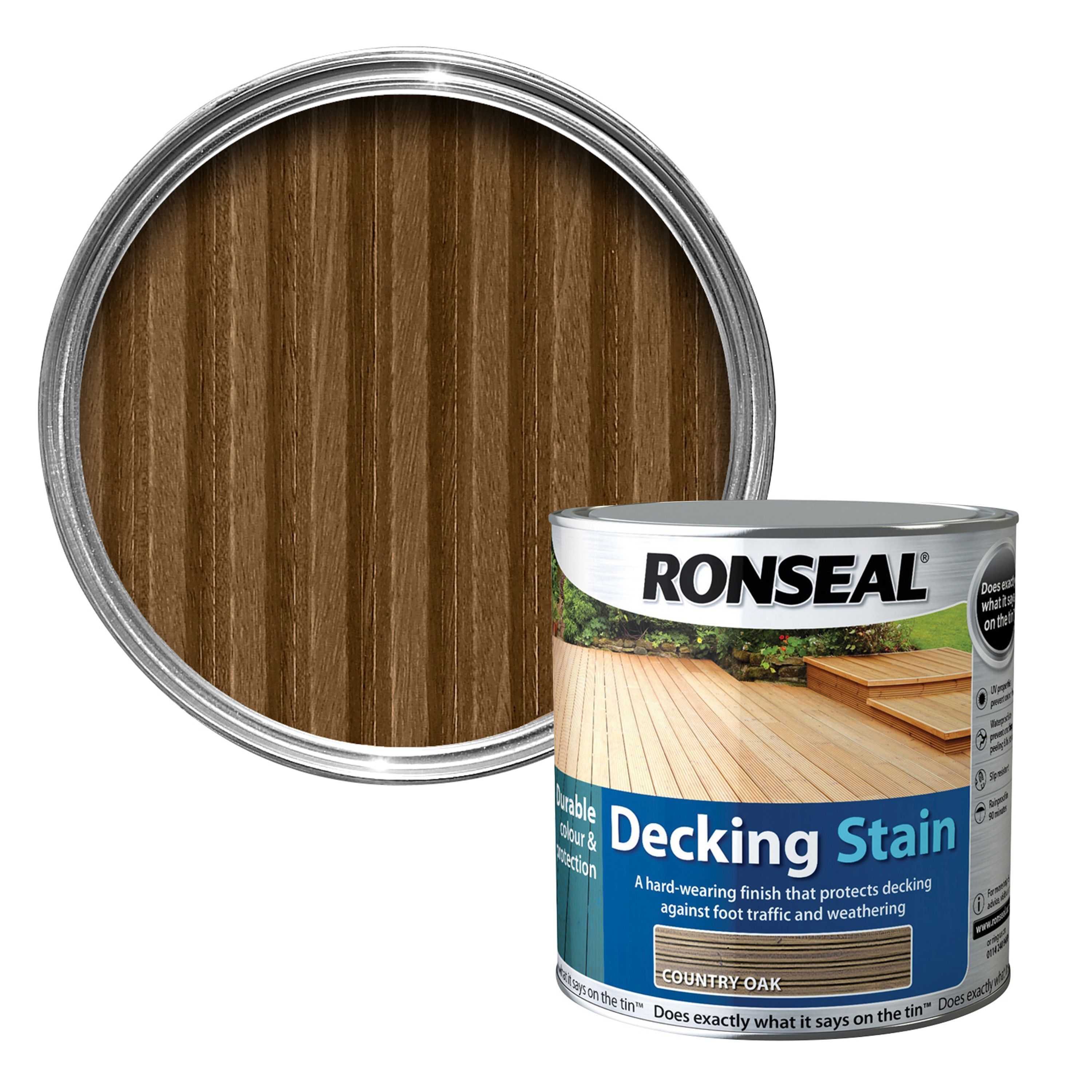 Ronseal country oak matt decking stain 25l departments diy at bq baanklon Image collections