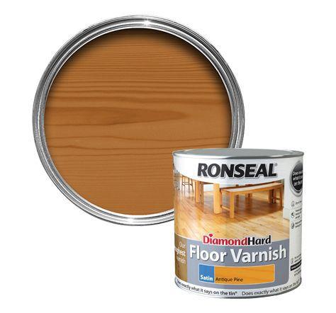 Ronseal Diamond Hard Antique Pine Satin Floor Varnish 2.5l