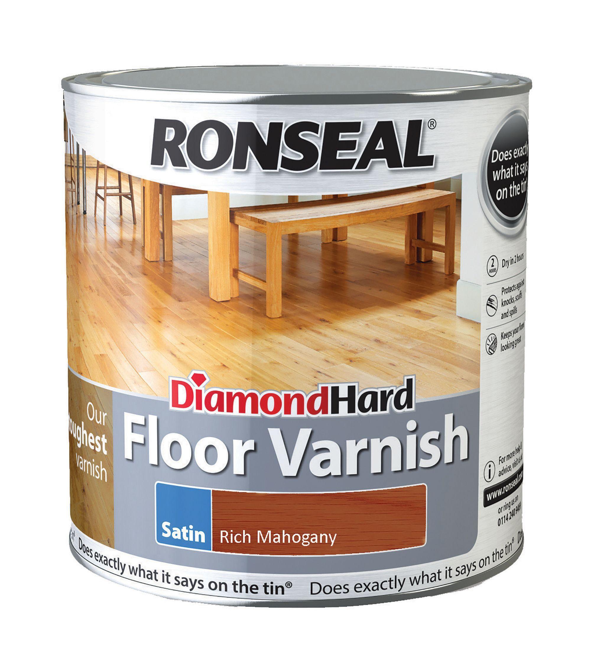 Ronseal Diamond Hard Rich Mahogany Satin Floor Varnish 2.5l