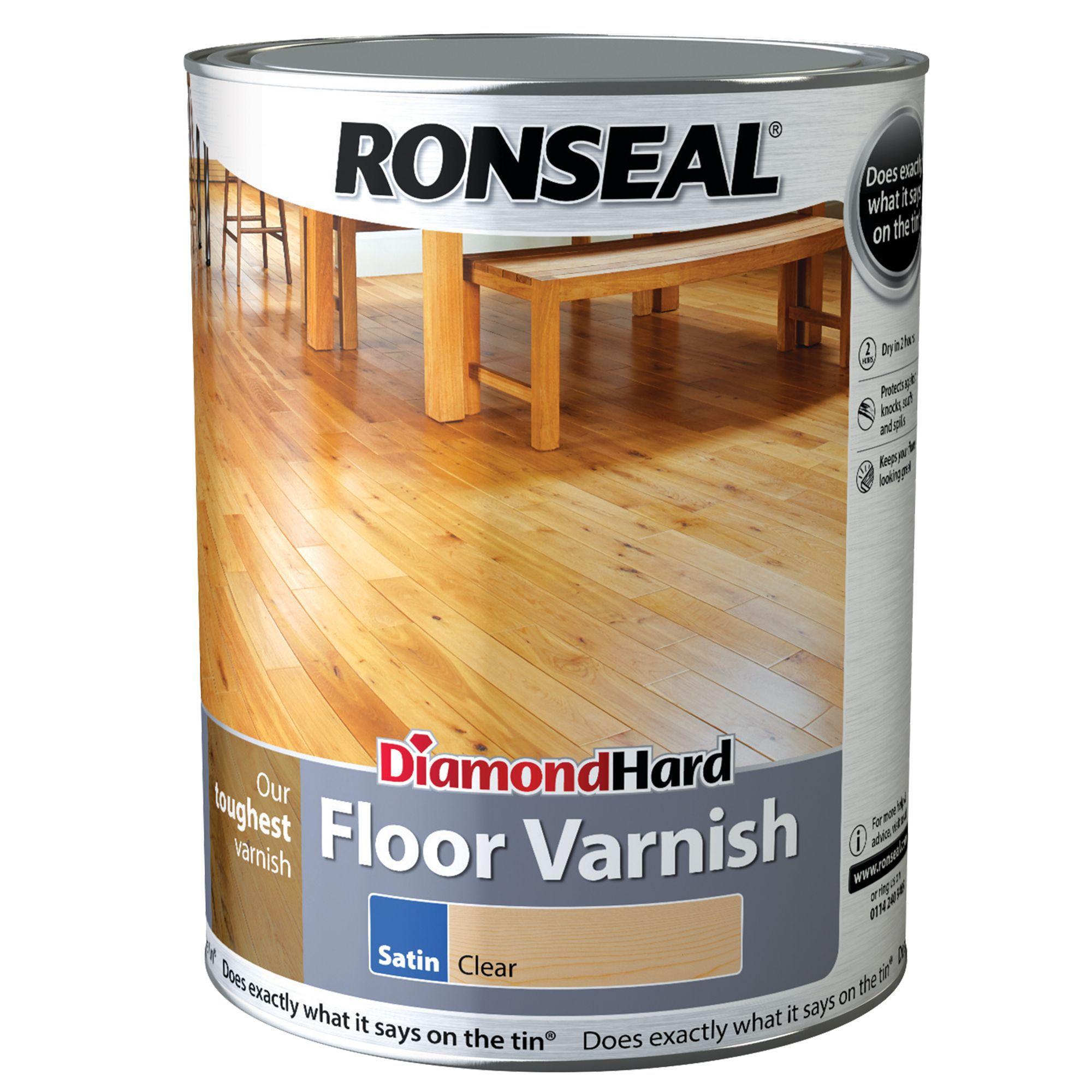 Ronseal Diamond Hard Clear Satin Floor Varnish 5l