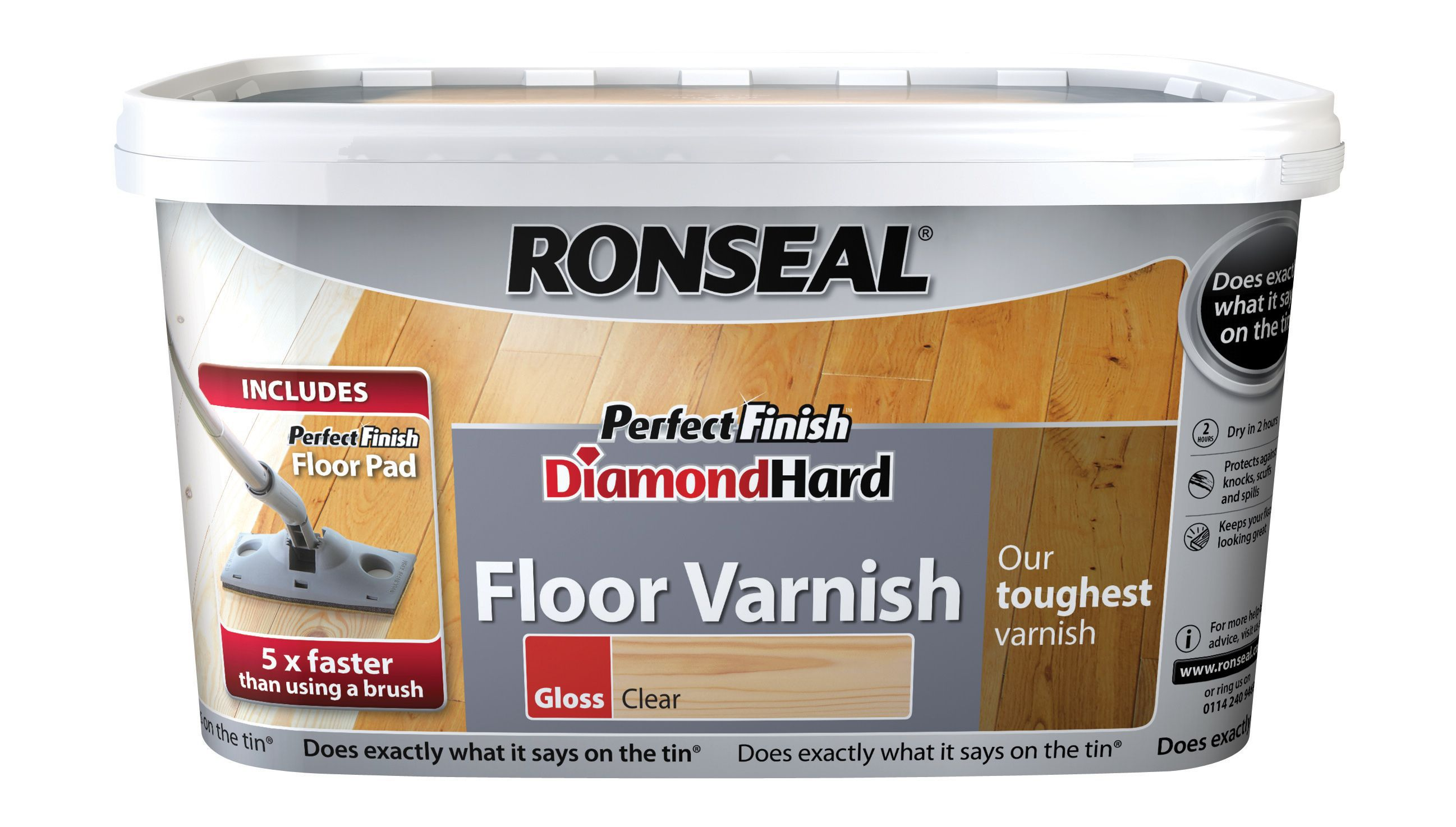 Ronseal Diamond Clear Gloss Floor Varnish 2500ml Departments Diy At B Q