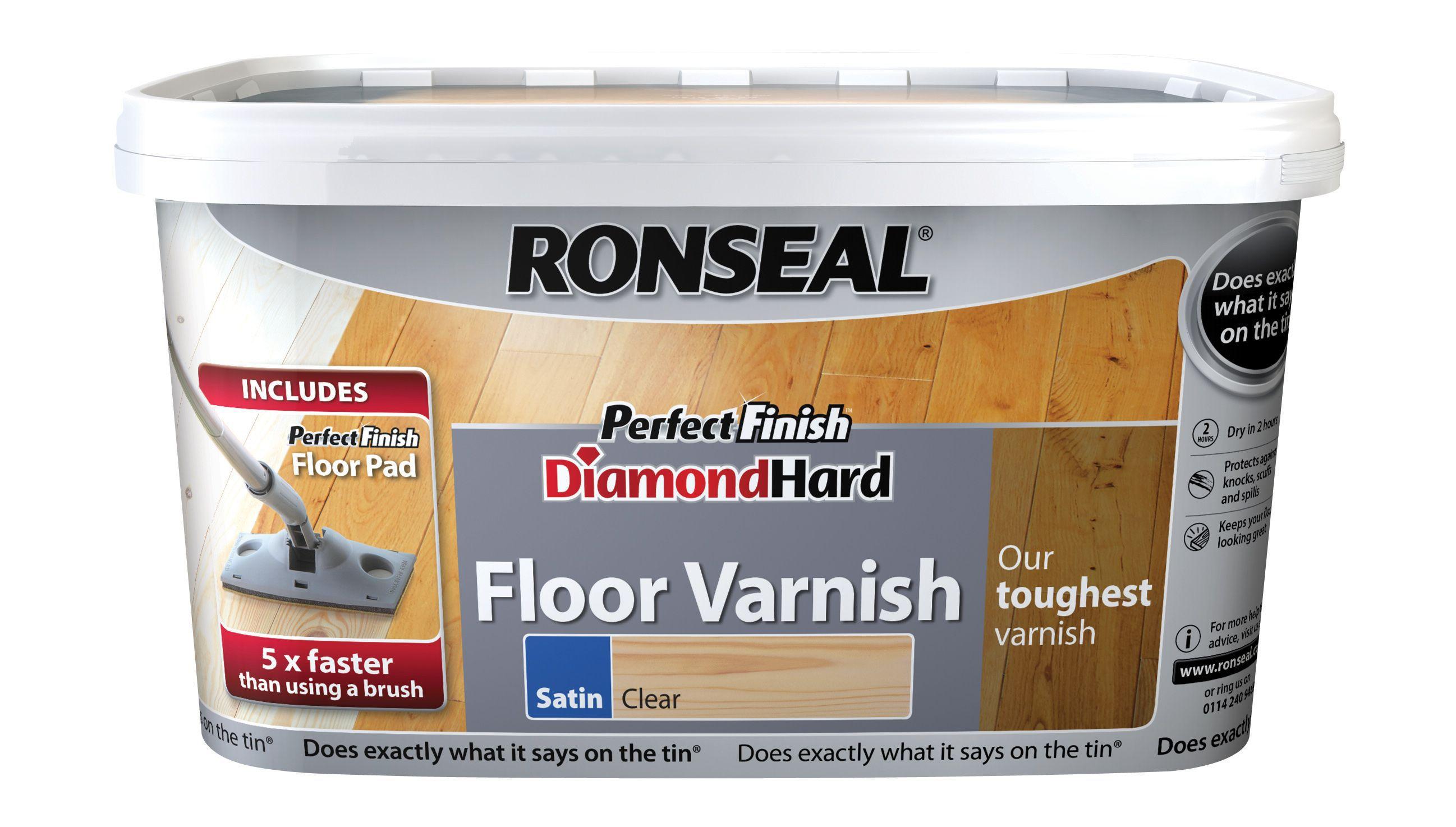 Ronseal Diamond Hard Clear Satin Floor Varnish 2.5l