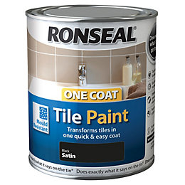 Ronseal Tile Paints Black Satin Tile Paint 750ml