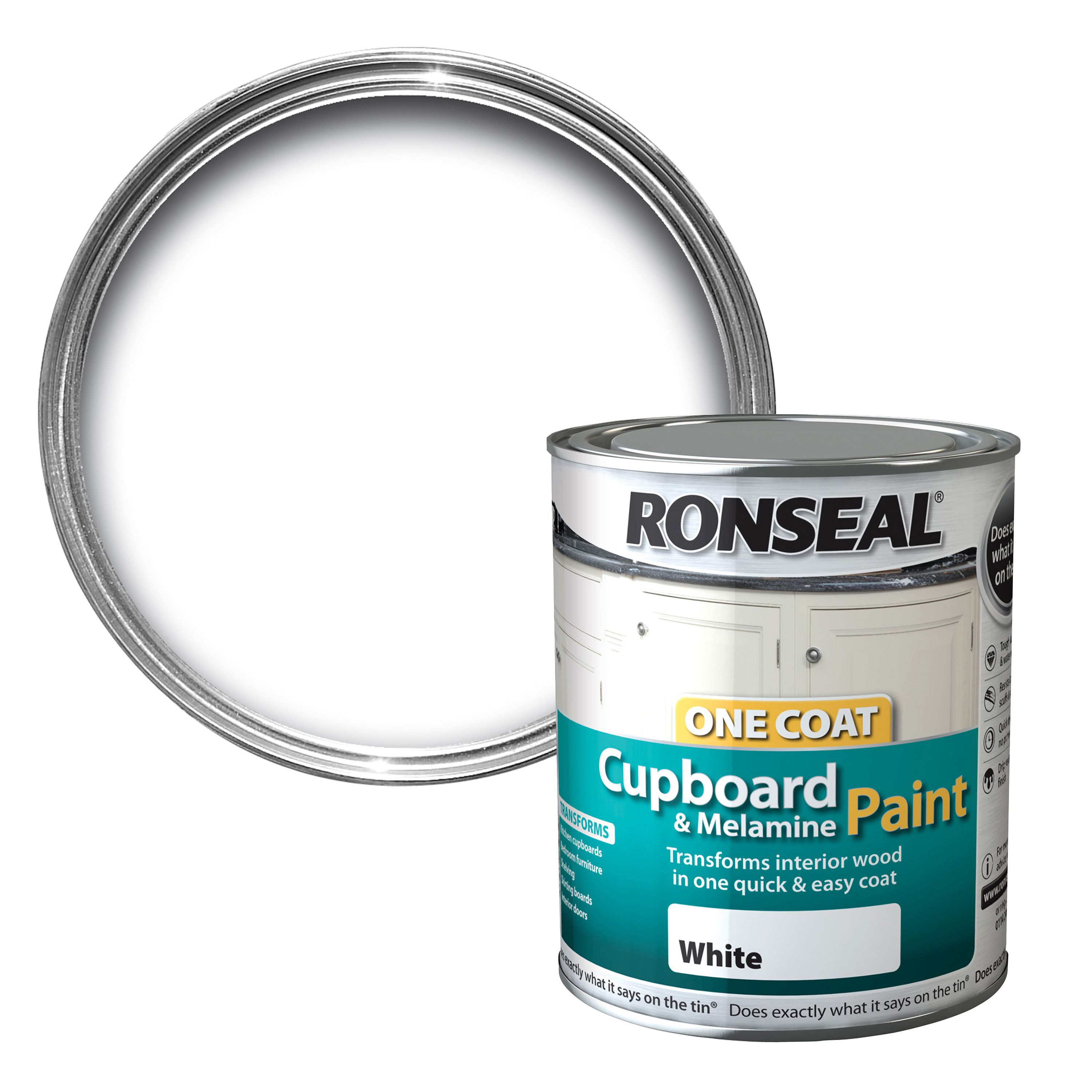 Ronseal White Satin Cupboard Paint 750 Ml Departments