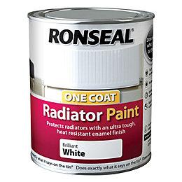 Ronseal Brilliant White Satin Radiator Paint 750ml