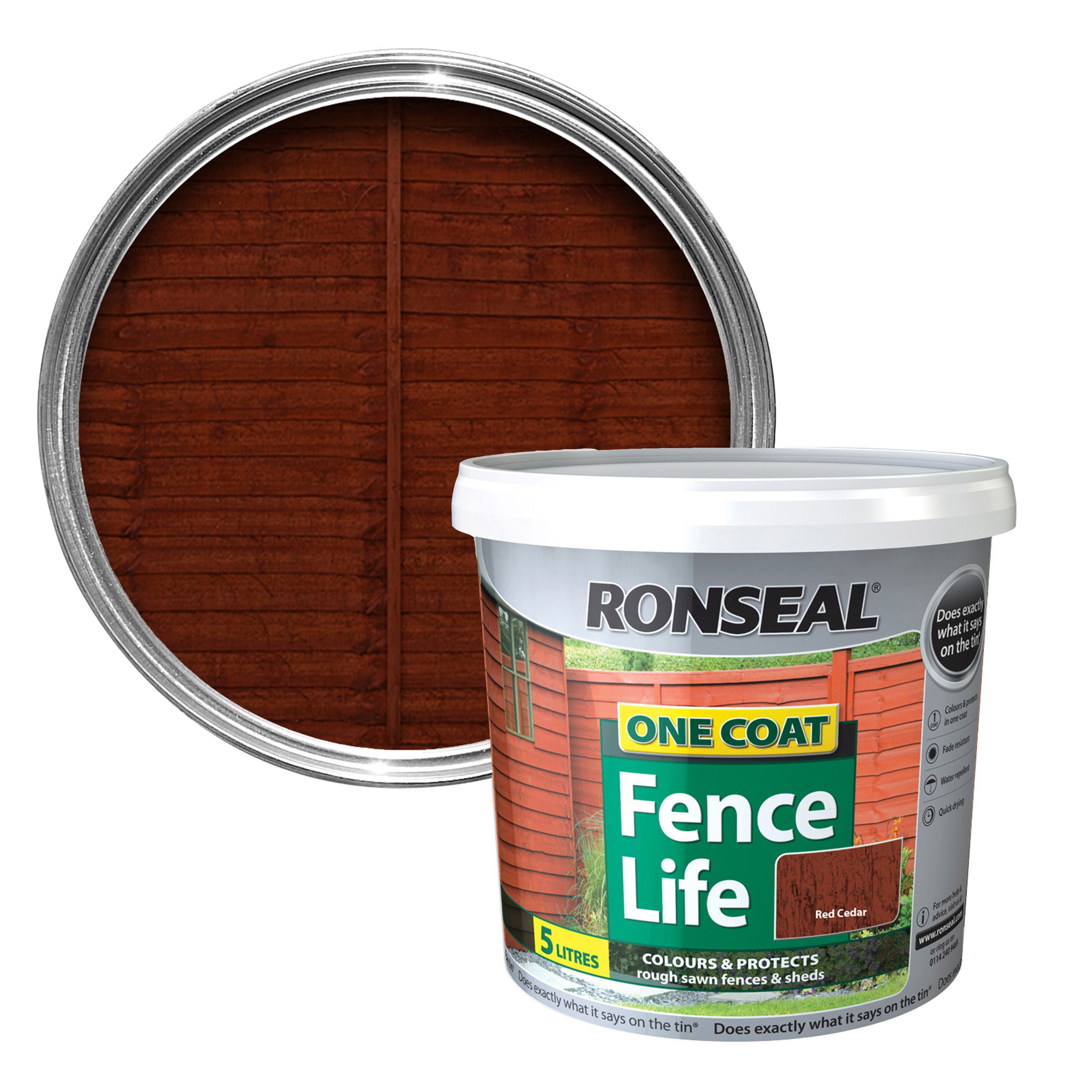 Ronseal One Coat Red Cedar Matt Shed Fence Stain 5l Departments Diy At B Q