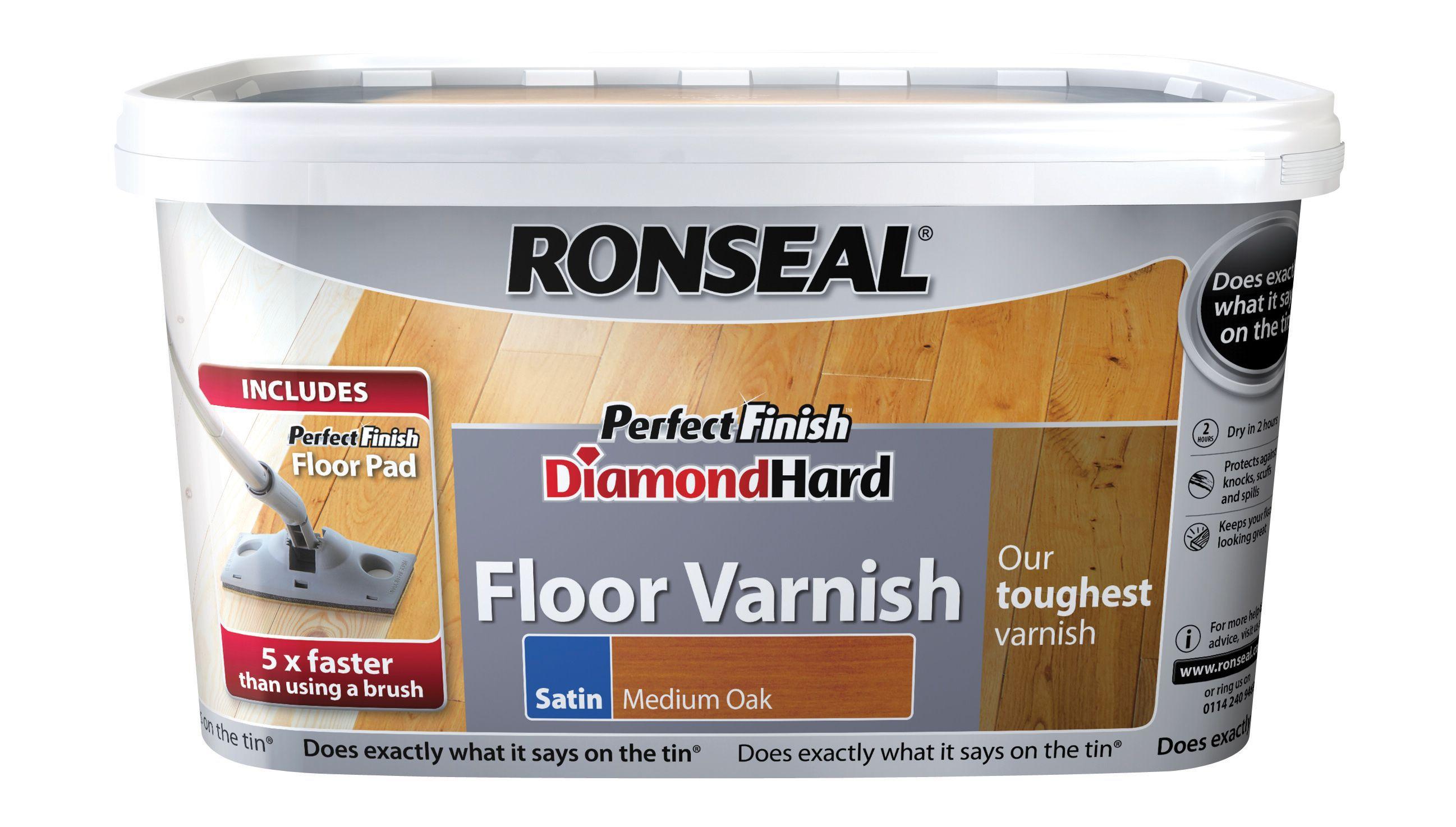 Ronseal Diamond Hard Medium Oak Satin Floor Varnish 2.5l