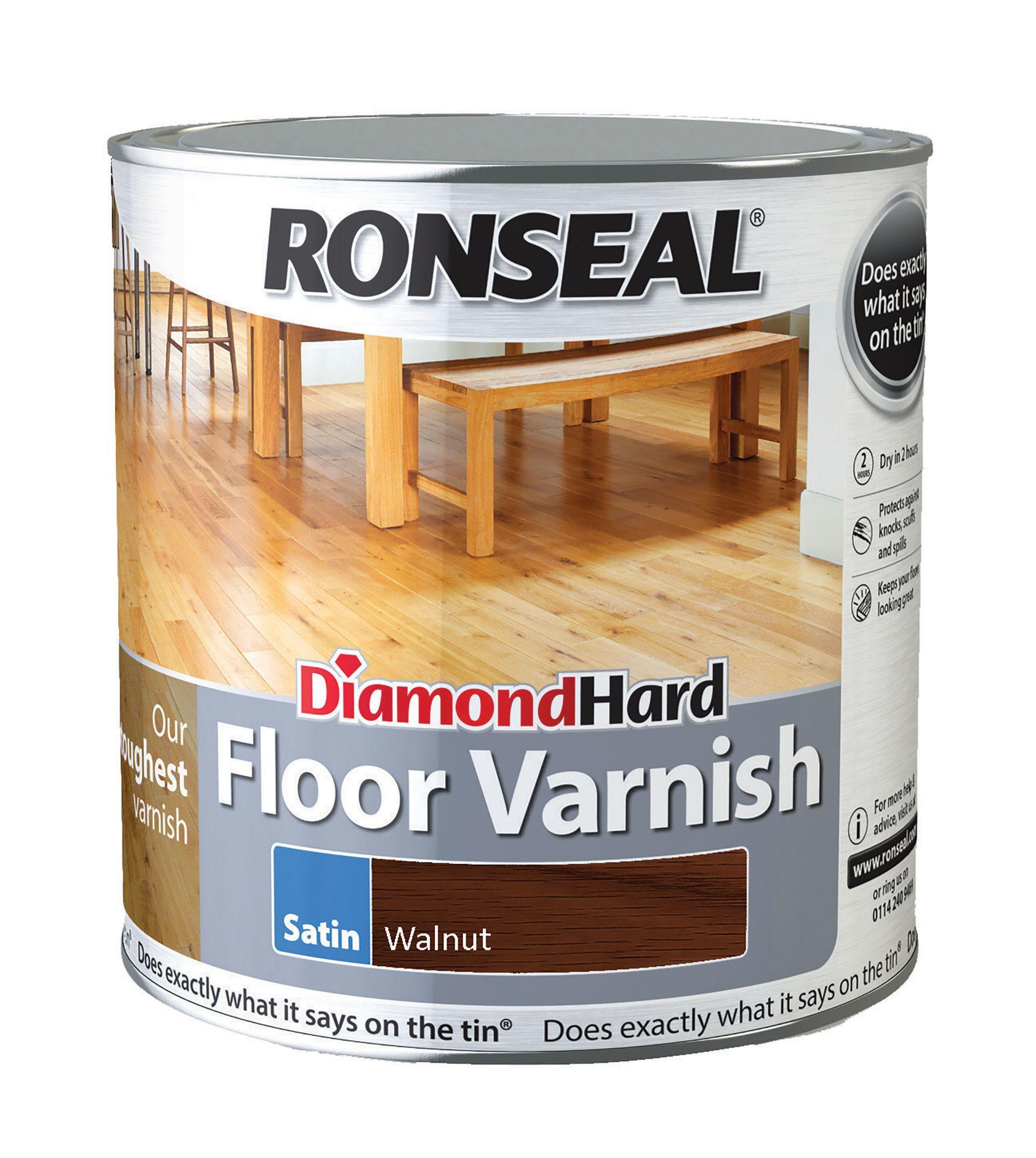 Ronseal Diamond Hard Walnut Satin Floor Varnish 2.5l