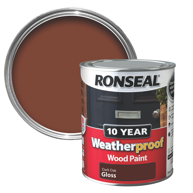 Ronseal Dark Oak Gloss Wood Paint 750ml Departments Diy At B Q