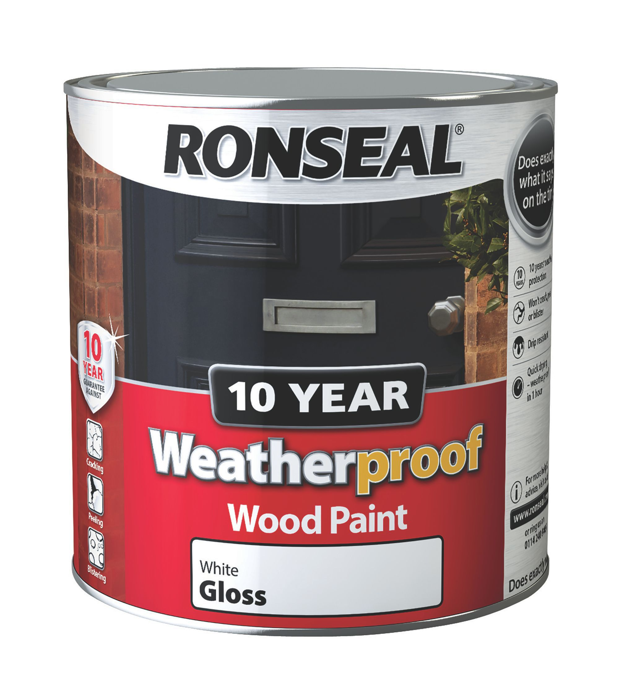 ronseal 10 year weatherproof pure brilliant white gloss wood paint 2 5l departments diy at b q