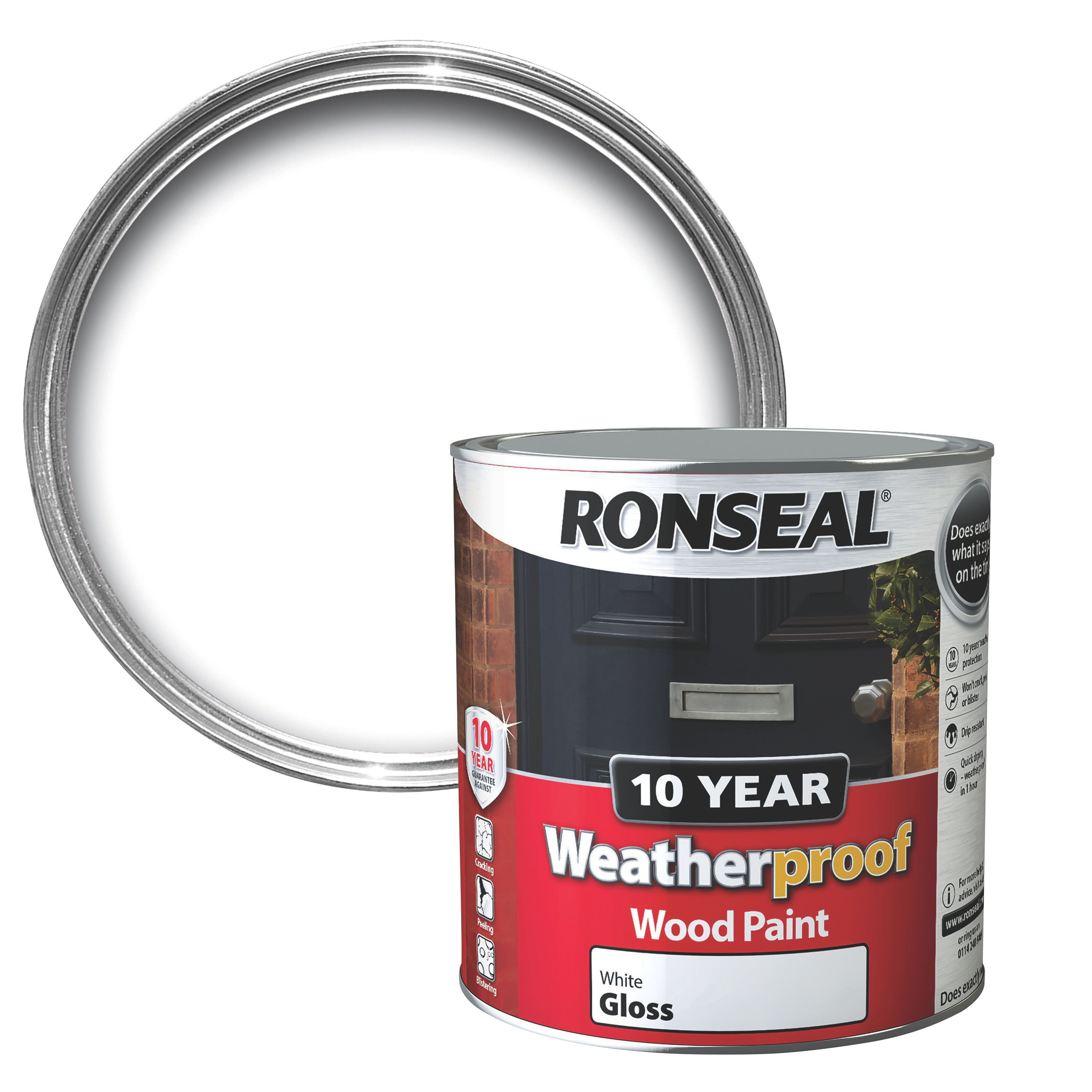 Ronseal exterior pure brilliant white gloss wood paint 2500ml departments tradepoint - Exterior white gloss paint image ...