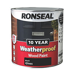 Ronseal 10 Year Weatherproof Black Gloss Wood Paint