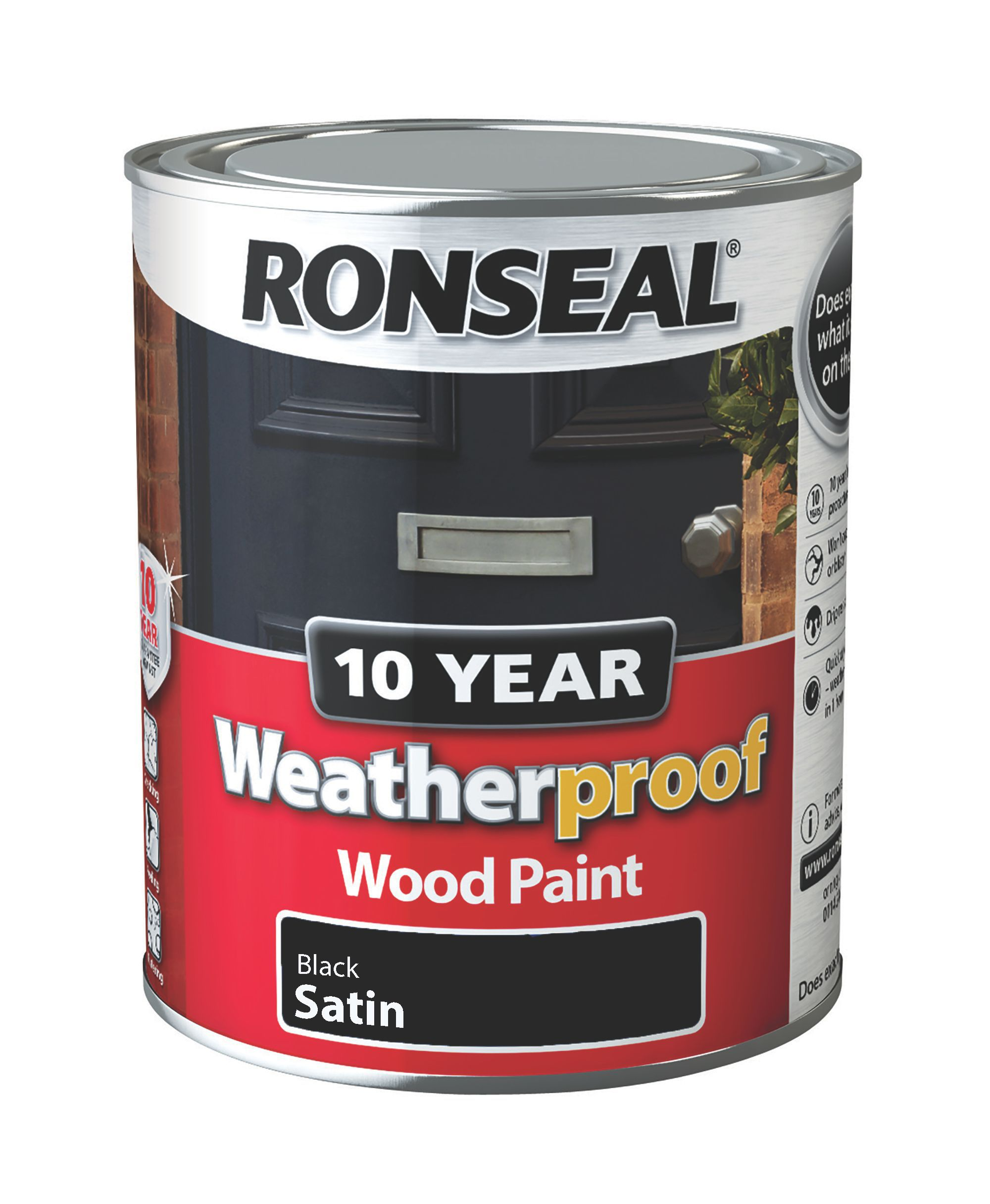 ronseal 10 year weatherproof black satin wood paint 750ml departments diy at b q