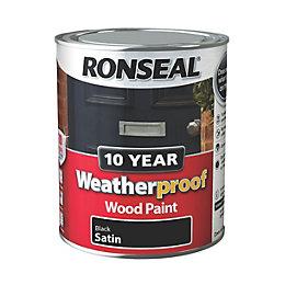 Ronseal 10 Year Weatherproof Black Satin Wood Paint