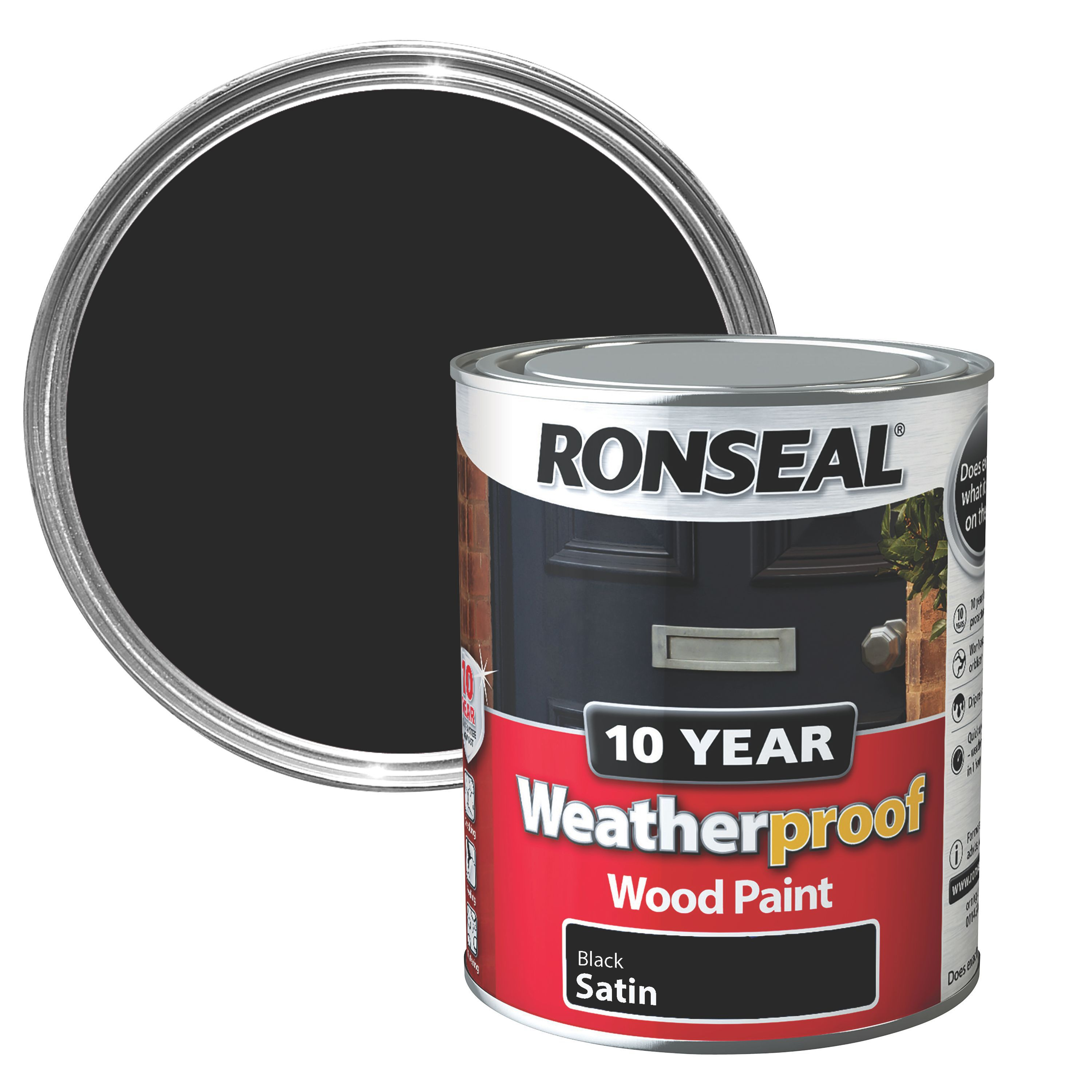 Ronseal Black Satin Wood Paint 750ml