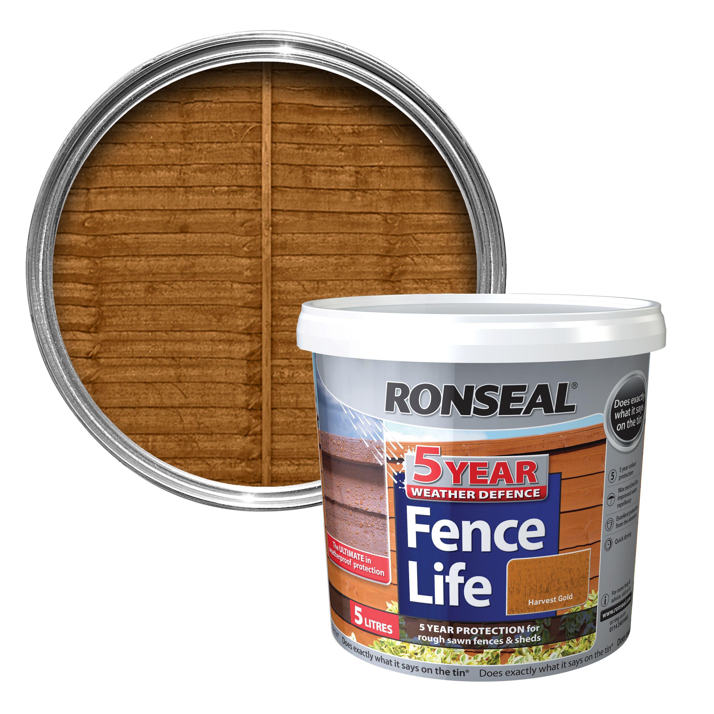 Ronseal Harvest Gold Matt Shed Amp Fence Stain 5l