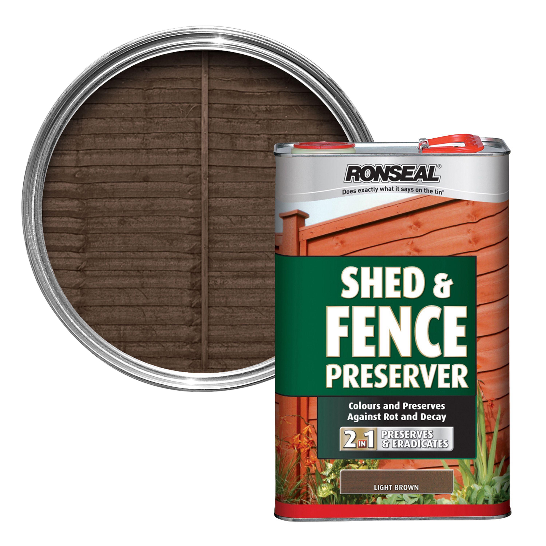 Ronseal Light Brown Matt Shed Fence Preserver 5l Departments Diy At B Q