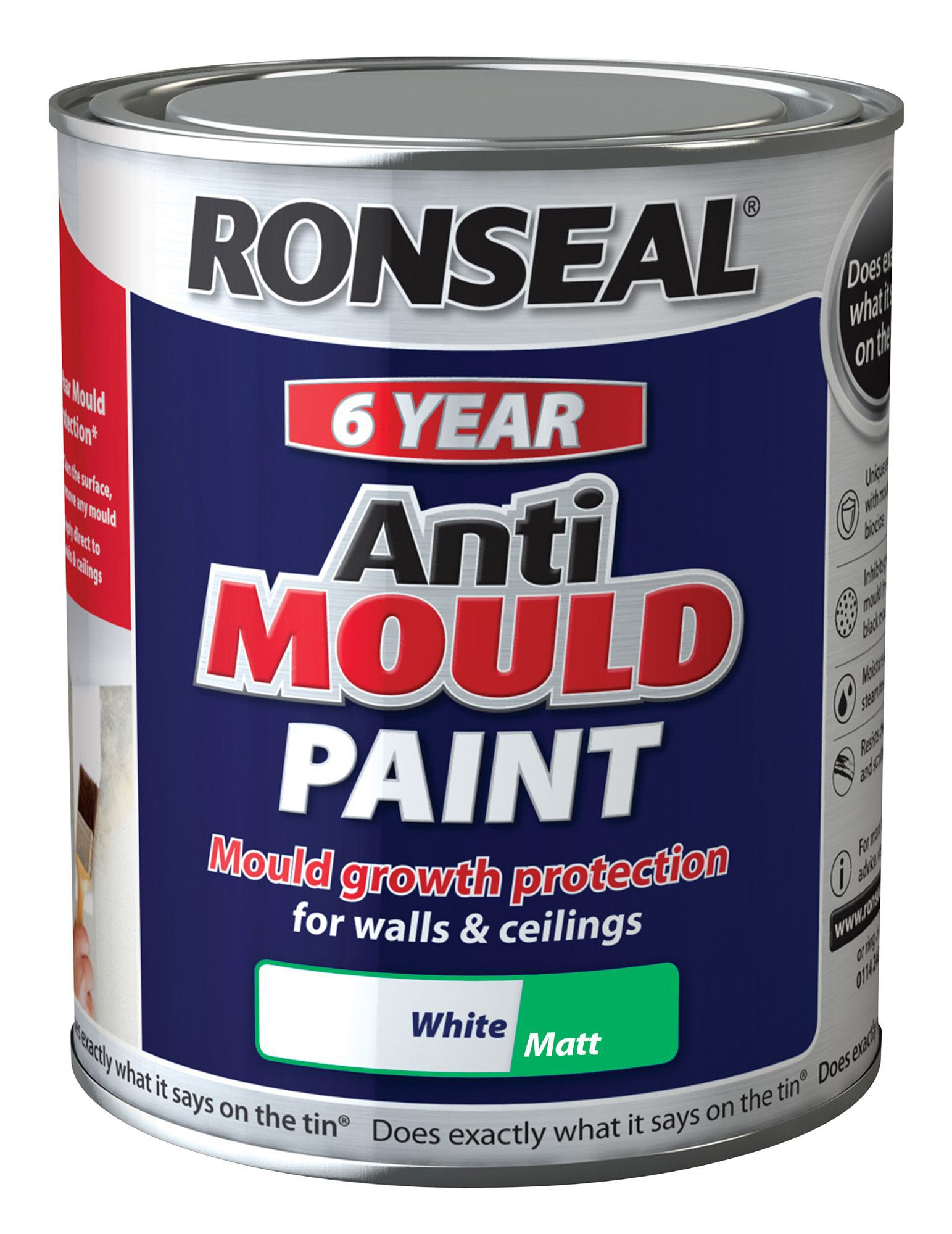 Ronseal Problem Wall Paints White Matt Anti-mould Paint 750 Ml