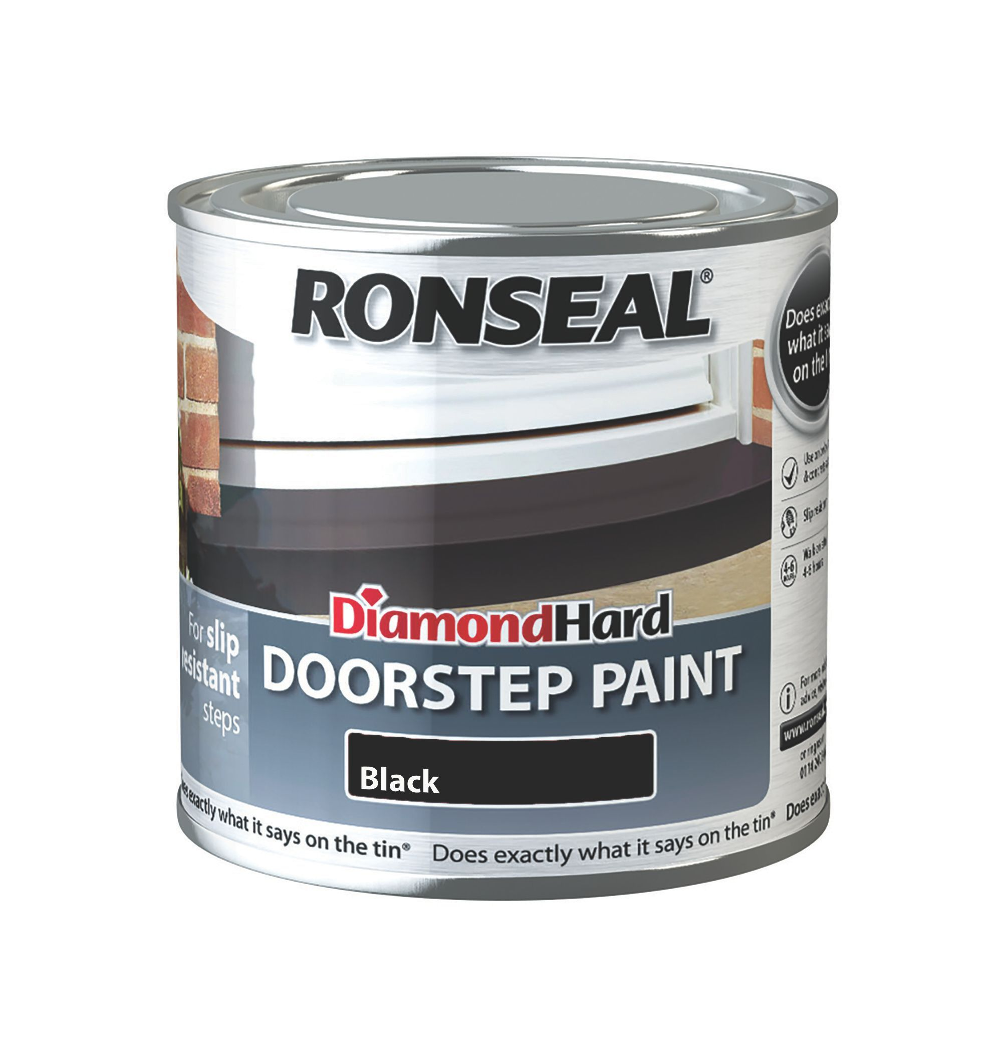Ronseal Doorstep Paint Black Satin Doorstep Paint0 25l