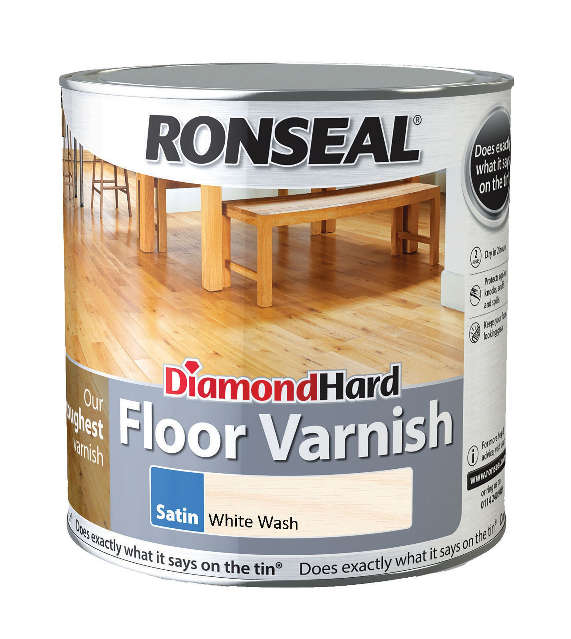 Ronseal Diamond Hard White Ash Satin Floor Varnish 2.5l